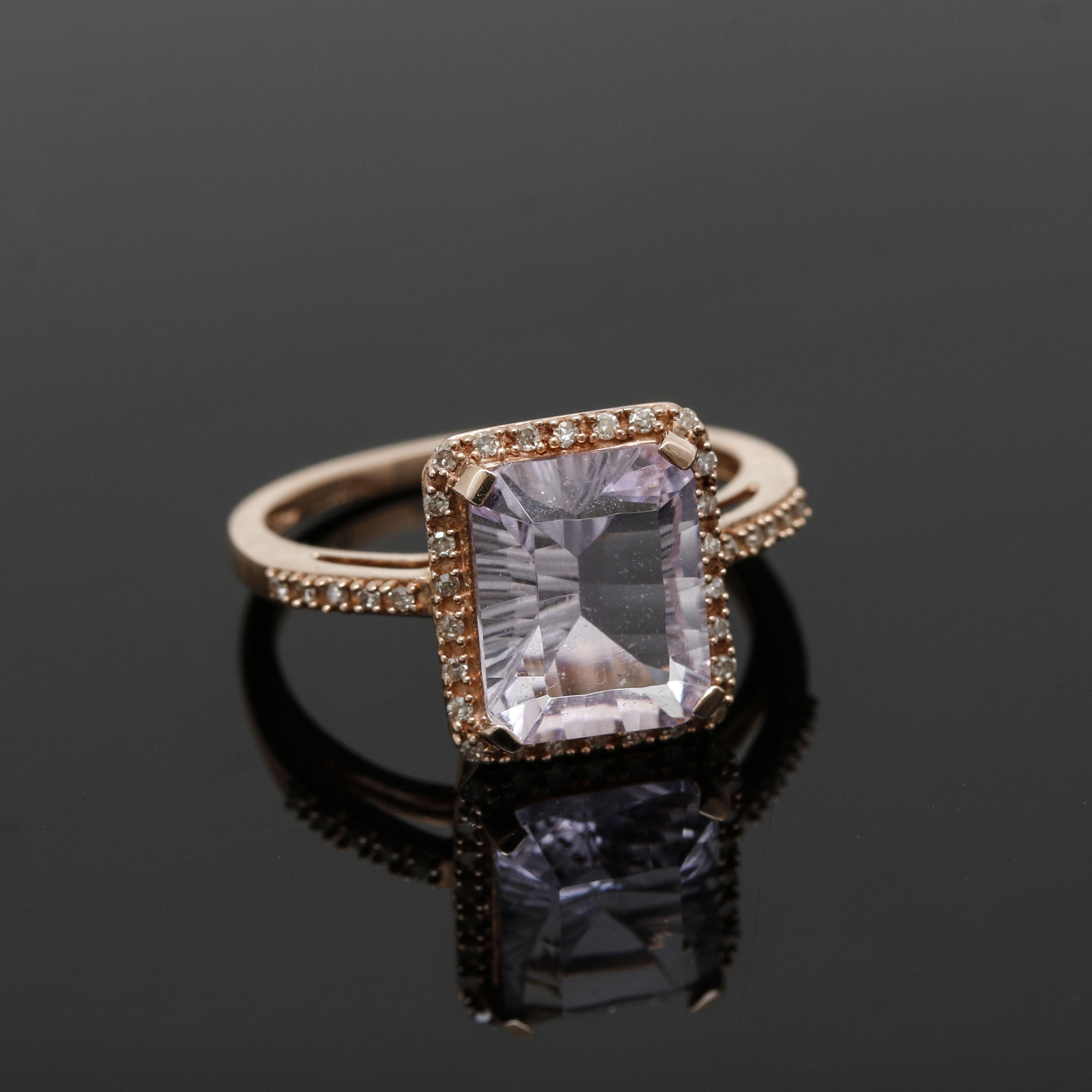 10K Rose Gold Amethyst and Diamond Ring