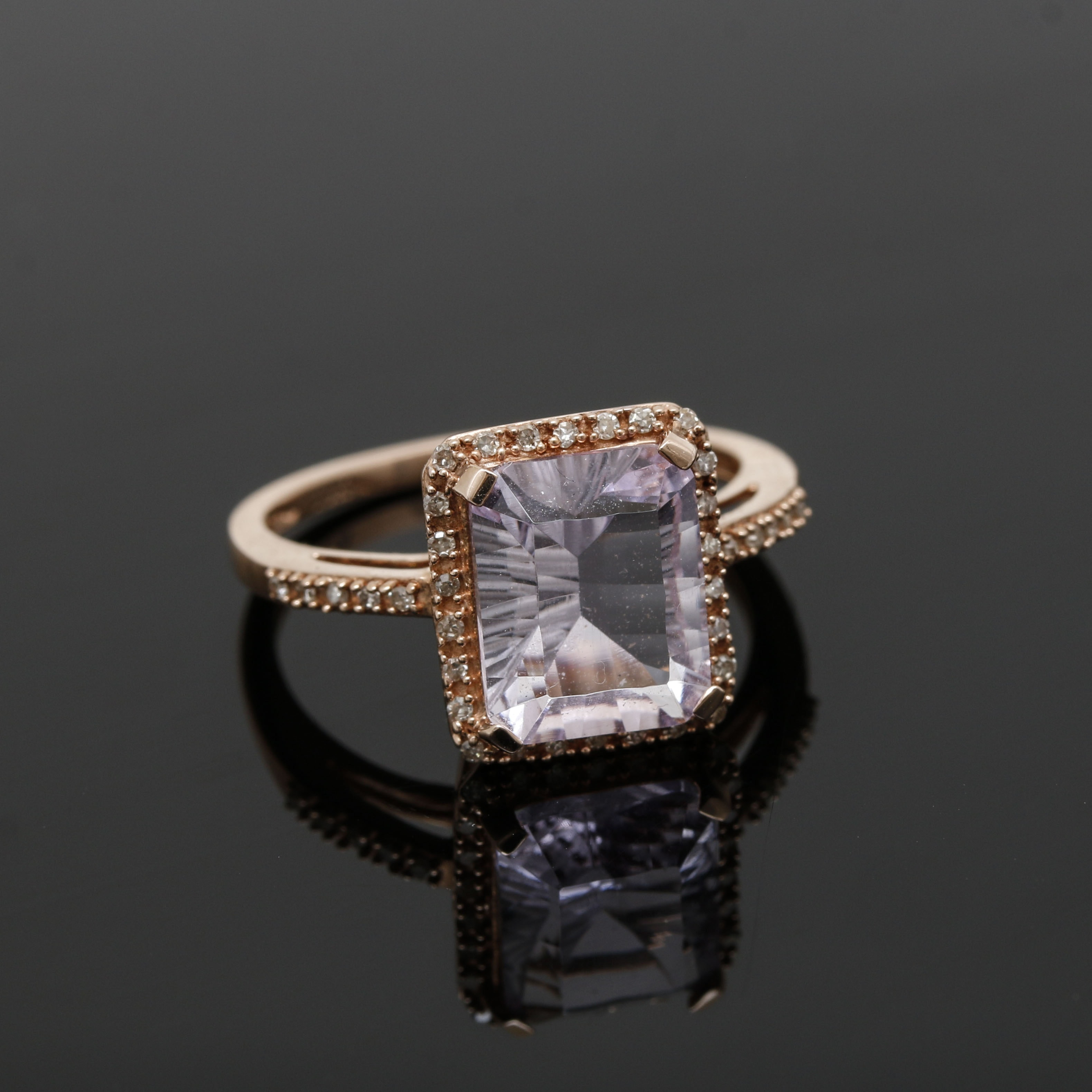 10K Rose Gold Amethyst and Diamond Ring