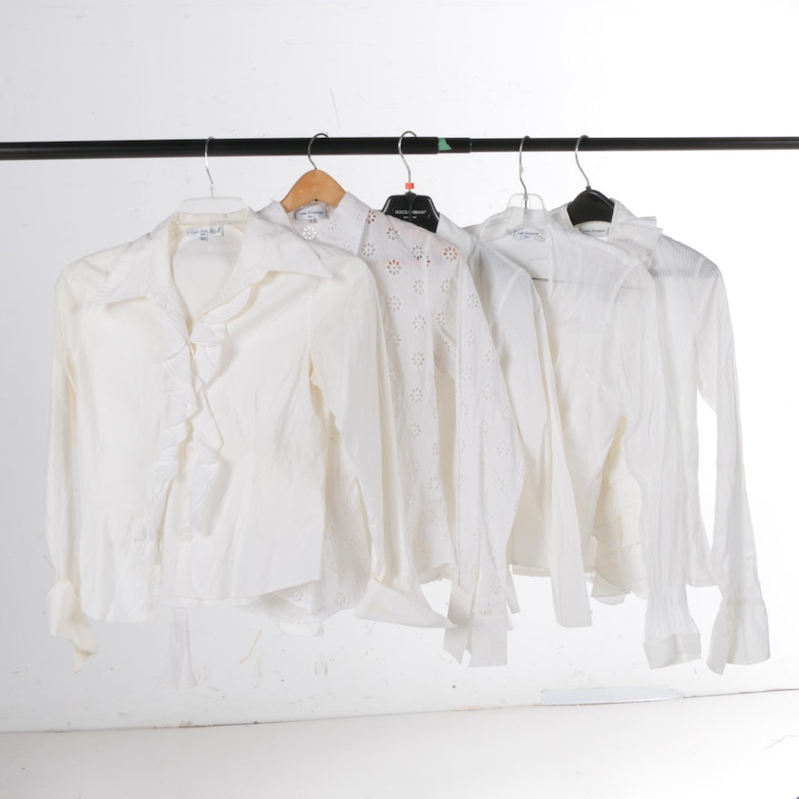 f55a5d43808c0 Women s Anne Fontaine White Long Sleeve Blouses   EBTH