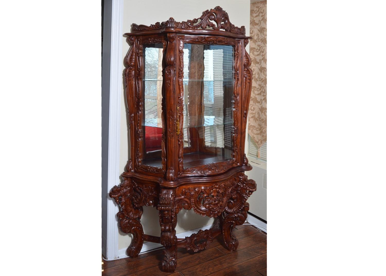 Vintage Rococo Revival Style Carved Hardwood Vitrine