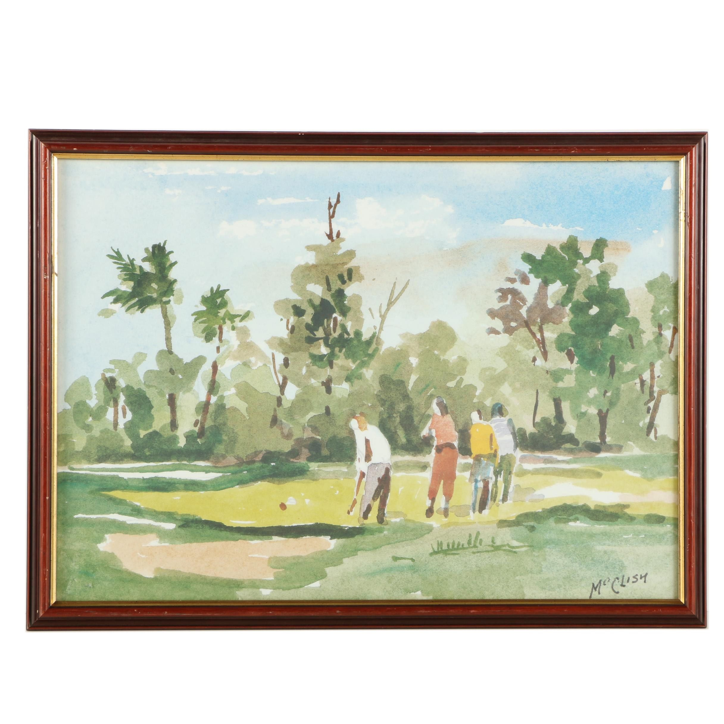 McClish Offset Lithograph of Golf Players