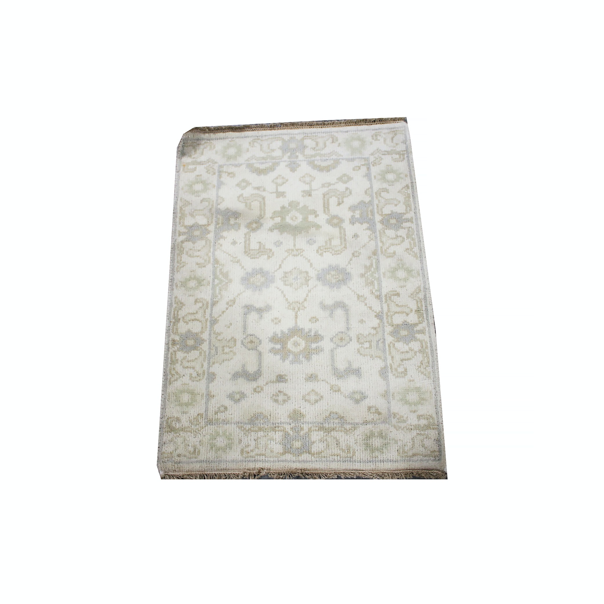 Vintage Hand-Knotted Turkish Oushak Wool Accent Rug
