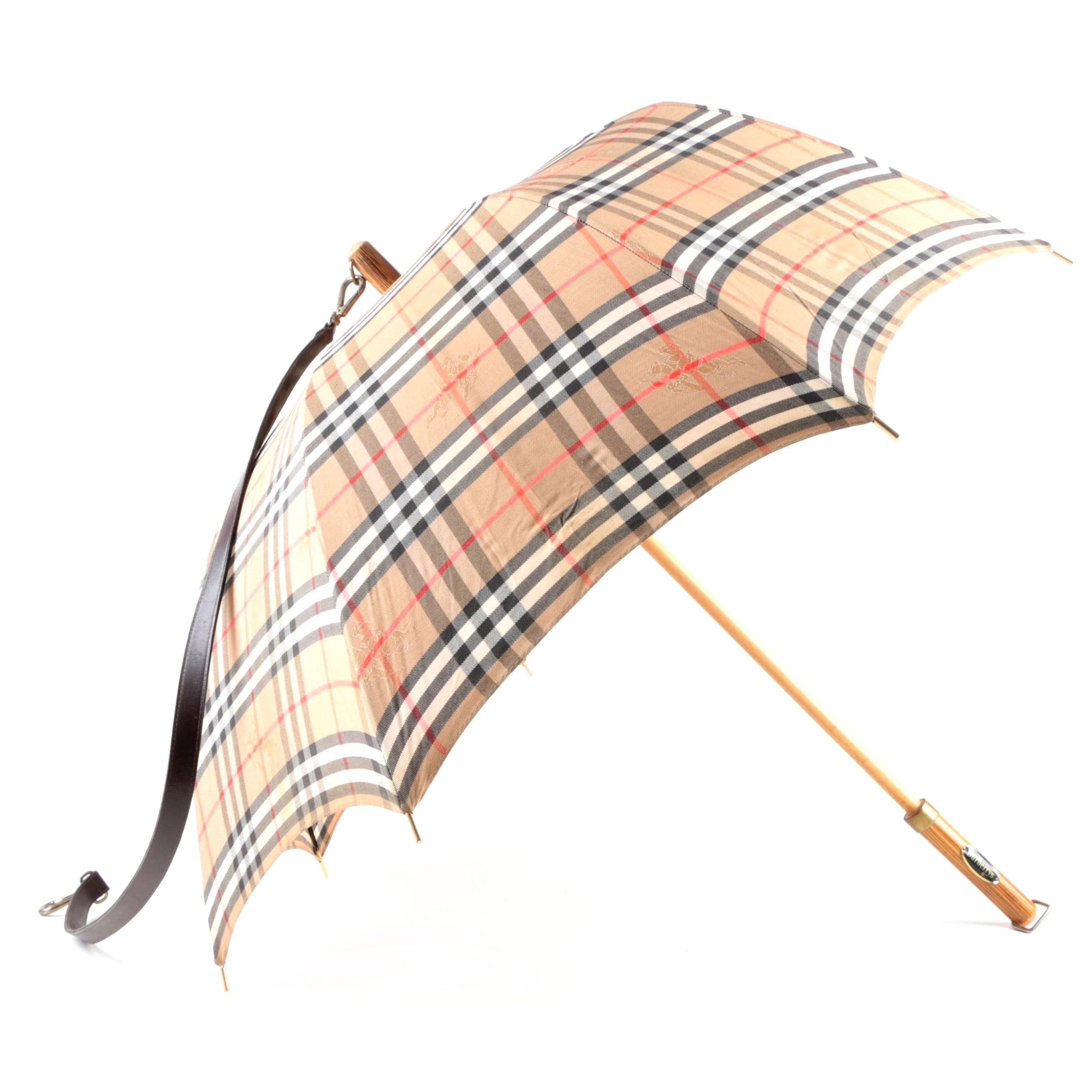Burberrys Plaid Fabric and Leather Umbrella