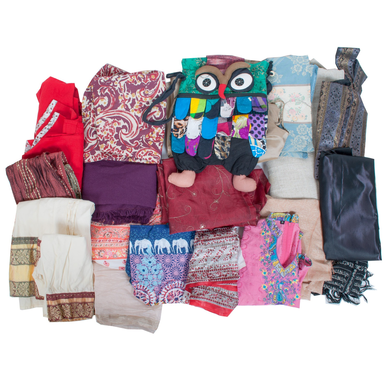 Assortment of World Culturally Themed Clothing and Textiles