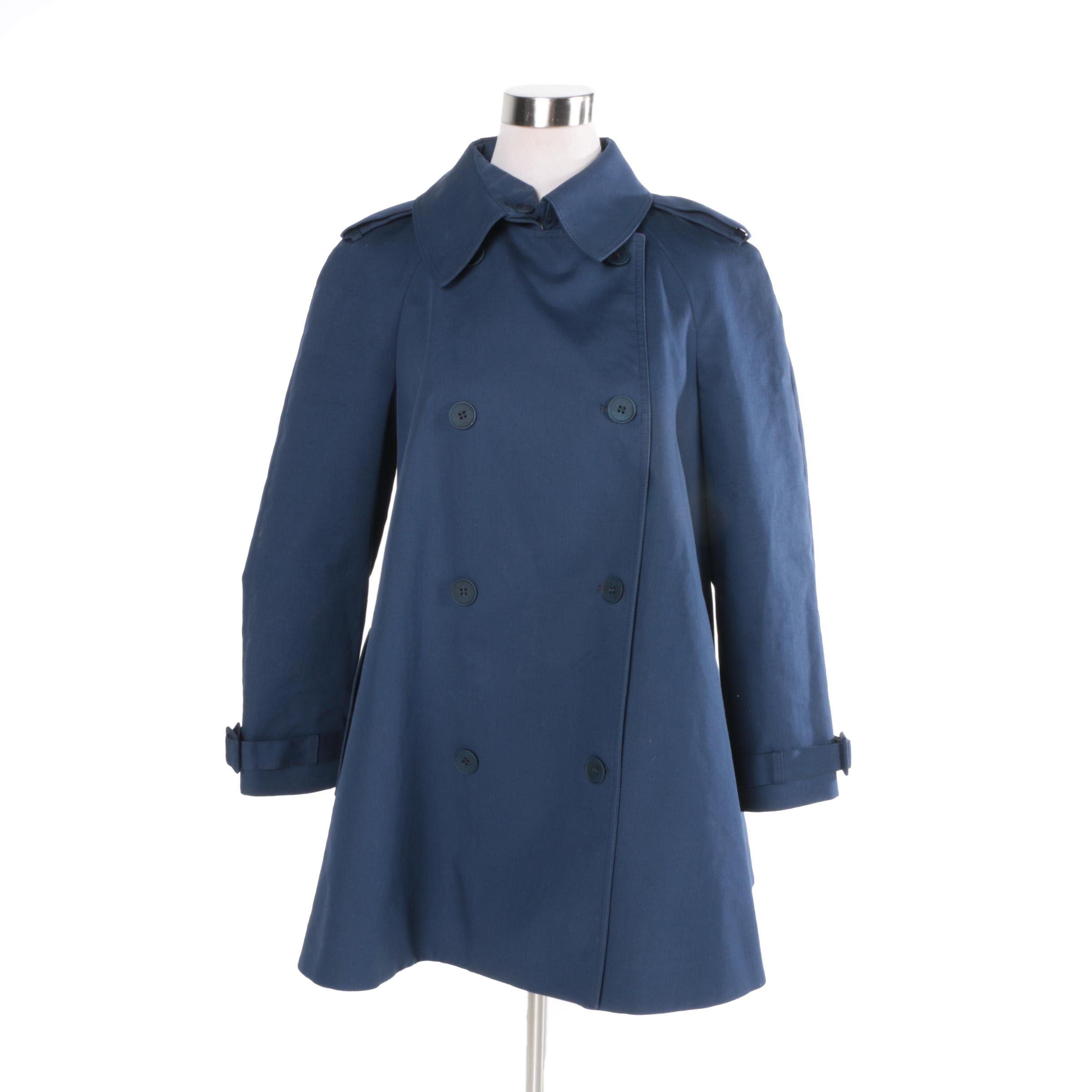 Women's Stella McCartney Blue Cotton Double-Breasted Swing Coat