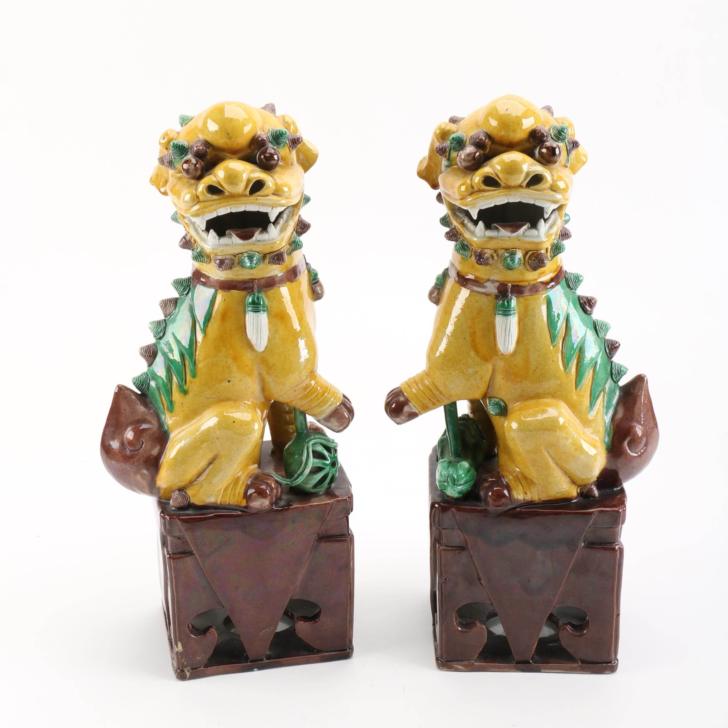 Chinese Ceramic Guardian Lion Censers