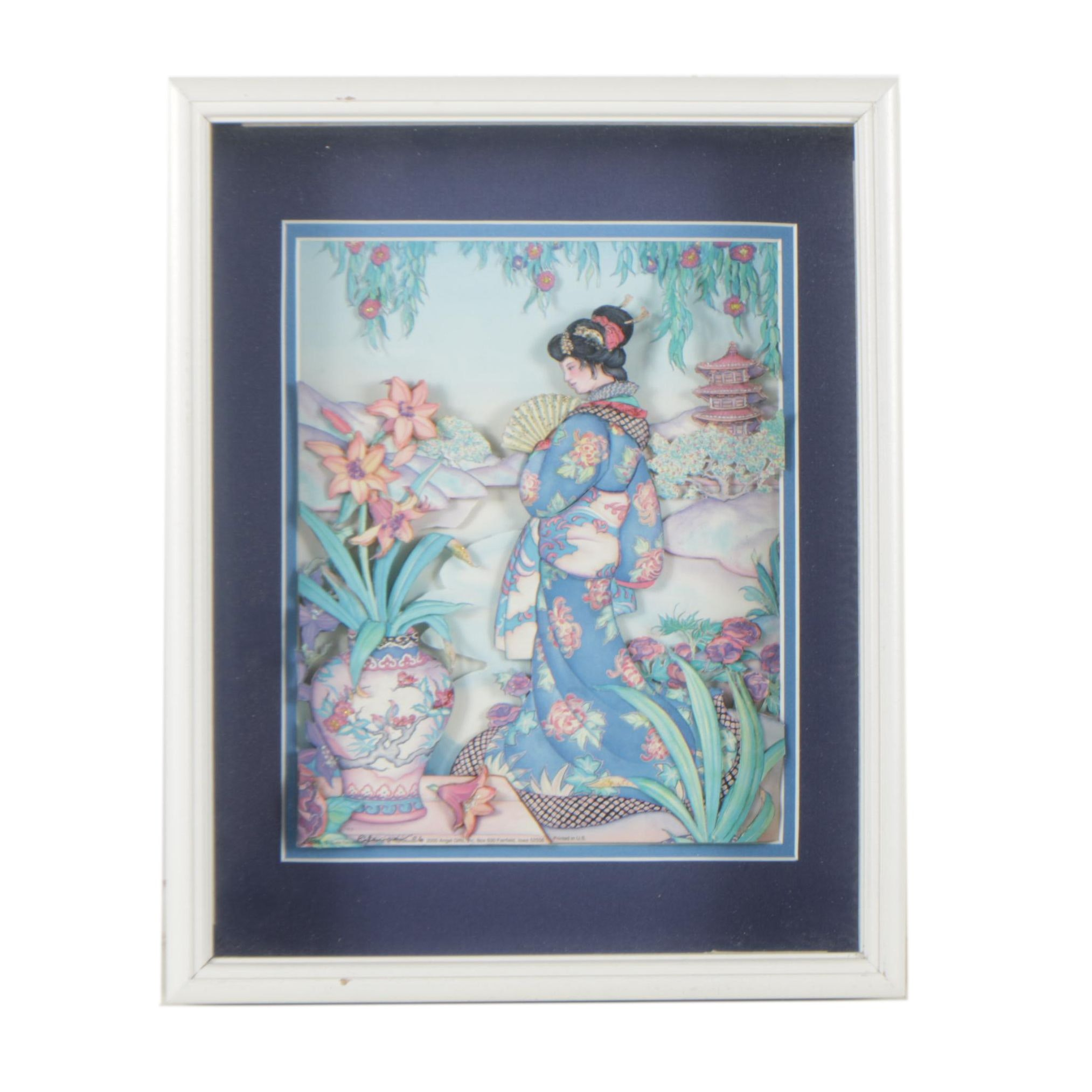 Layered East Asian Style Offset Lithograph Print