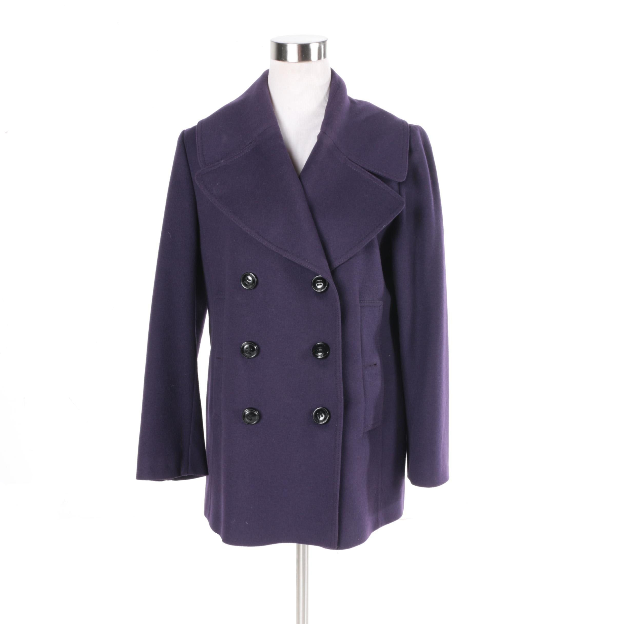 Women's Burberry London Purple Wool and Cashmere Blend Coat