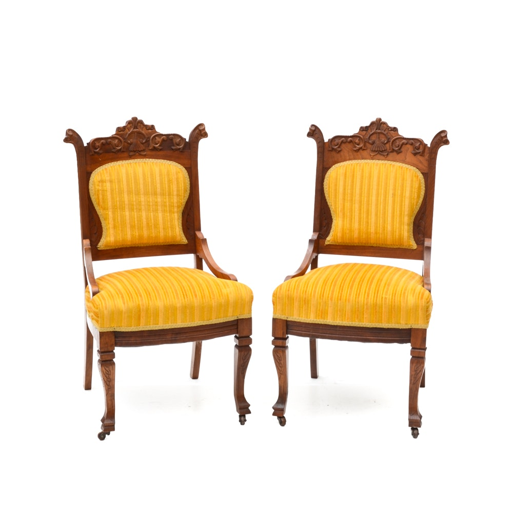 Antique Victorian Side Chairs with Yellow Upholstery