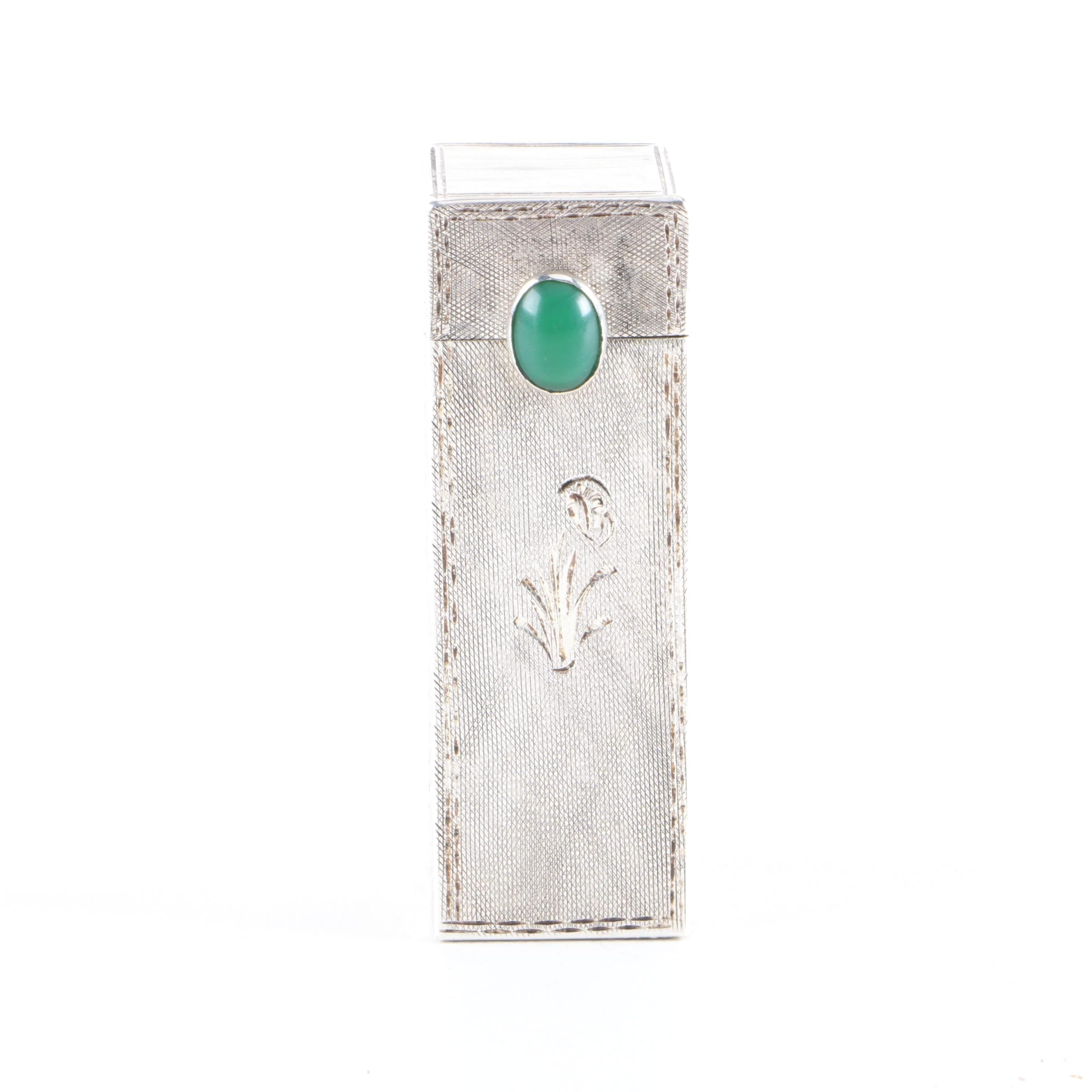 Vintage 800 Silver and Green Chalcedony Lipstick Case