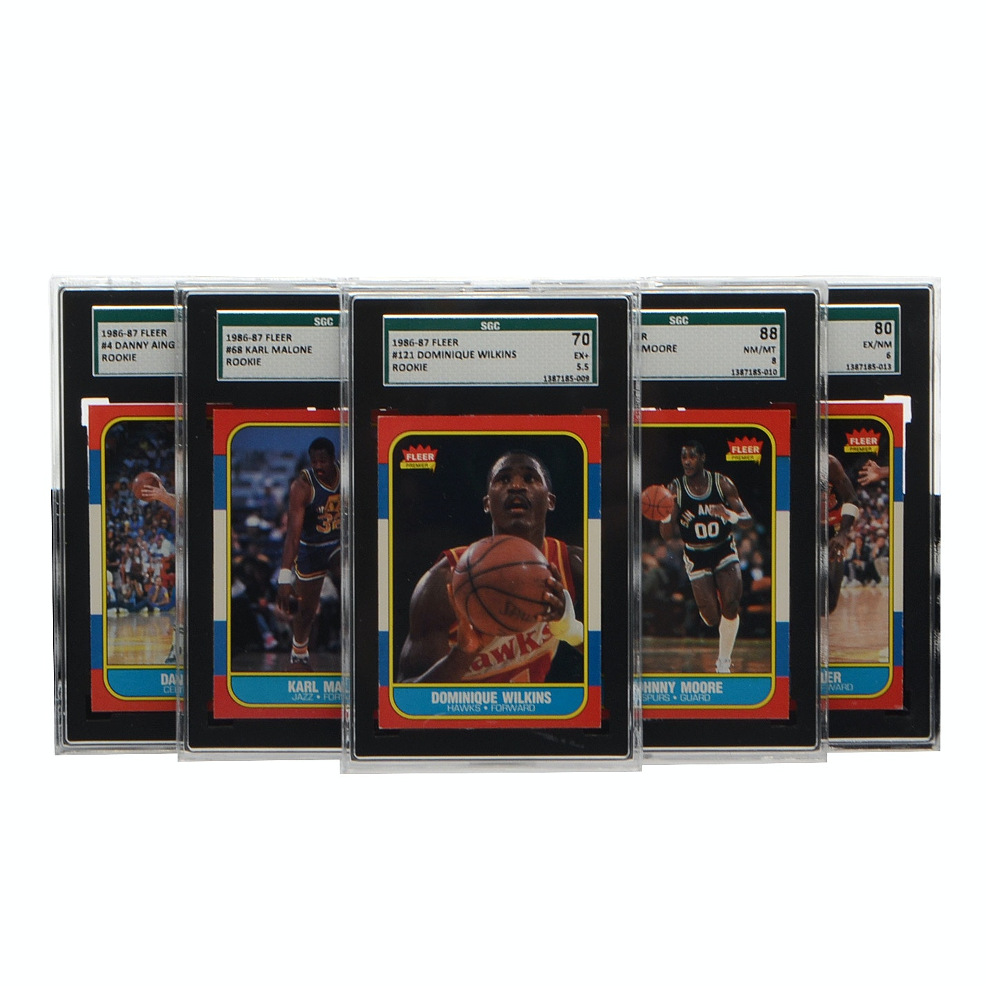 Six Graded 1986 Fleer Basketball Cards