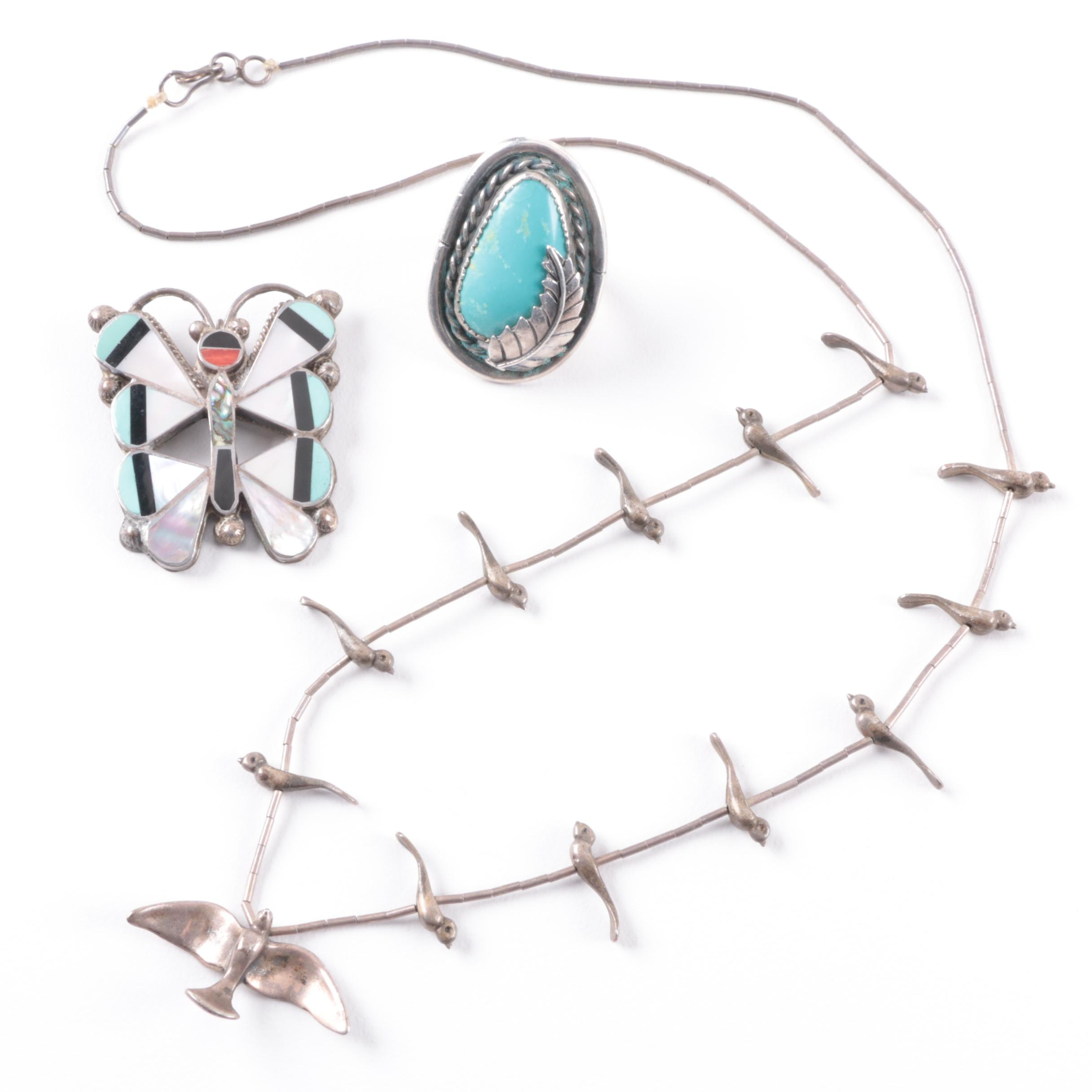 Southwestern Inspired Sterling Silver Jewelry Assortment Including Abalone