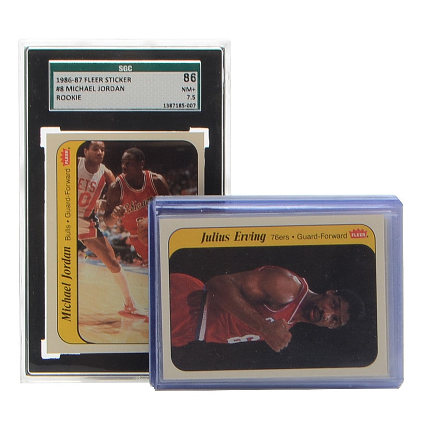 1986 Fleer Basketball Sticker Set Includes Graded Jordan