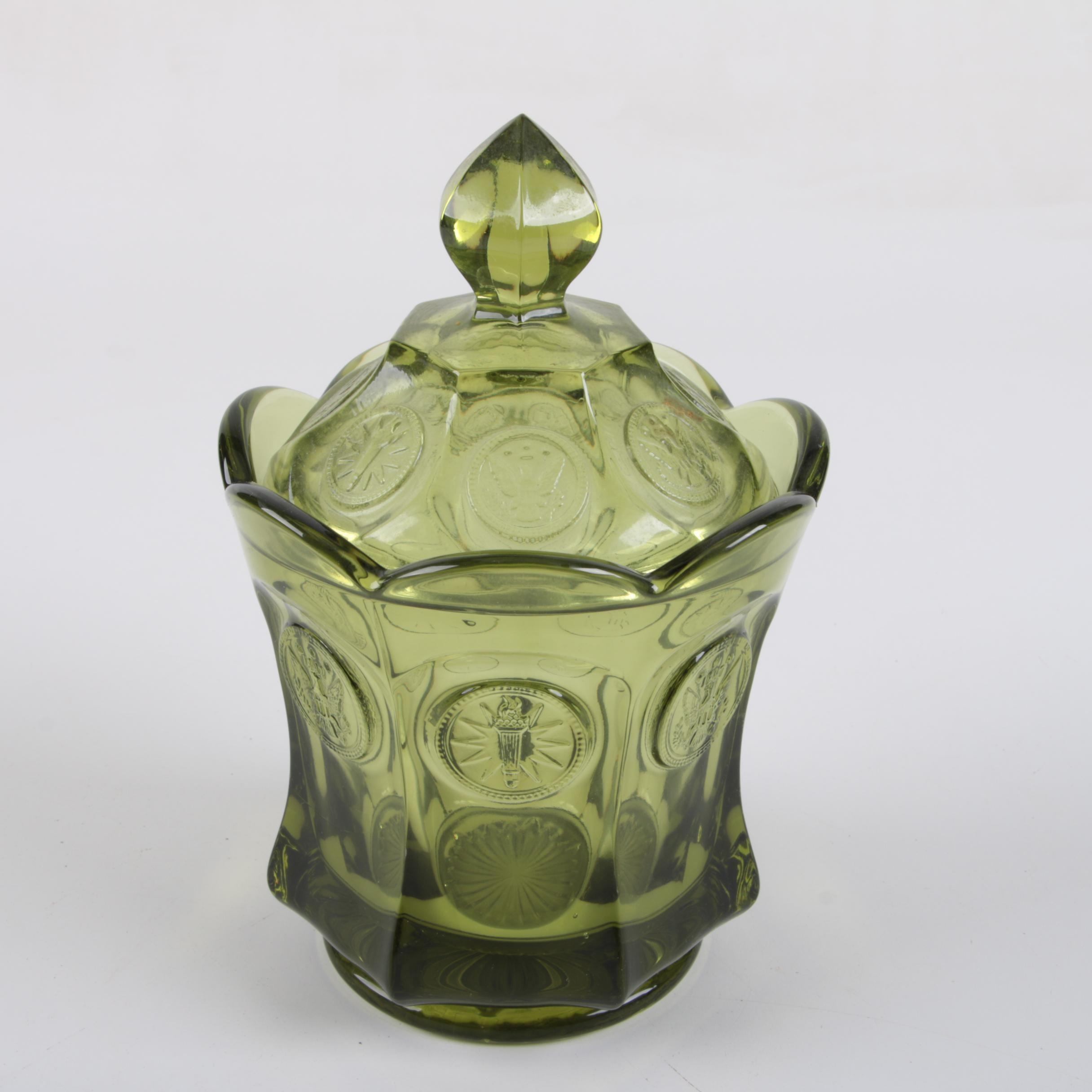 "Fostoria ""Coin Glass Olive Green"" Lidded Candy Dish, Circa 1969-1981"