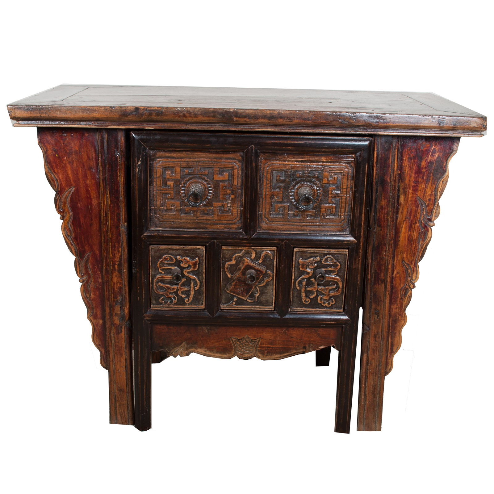 Carved Dark Wood Desk and Chair