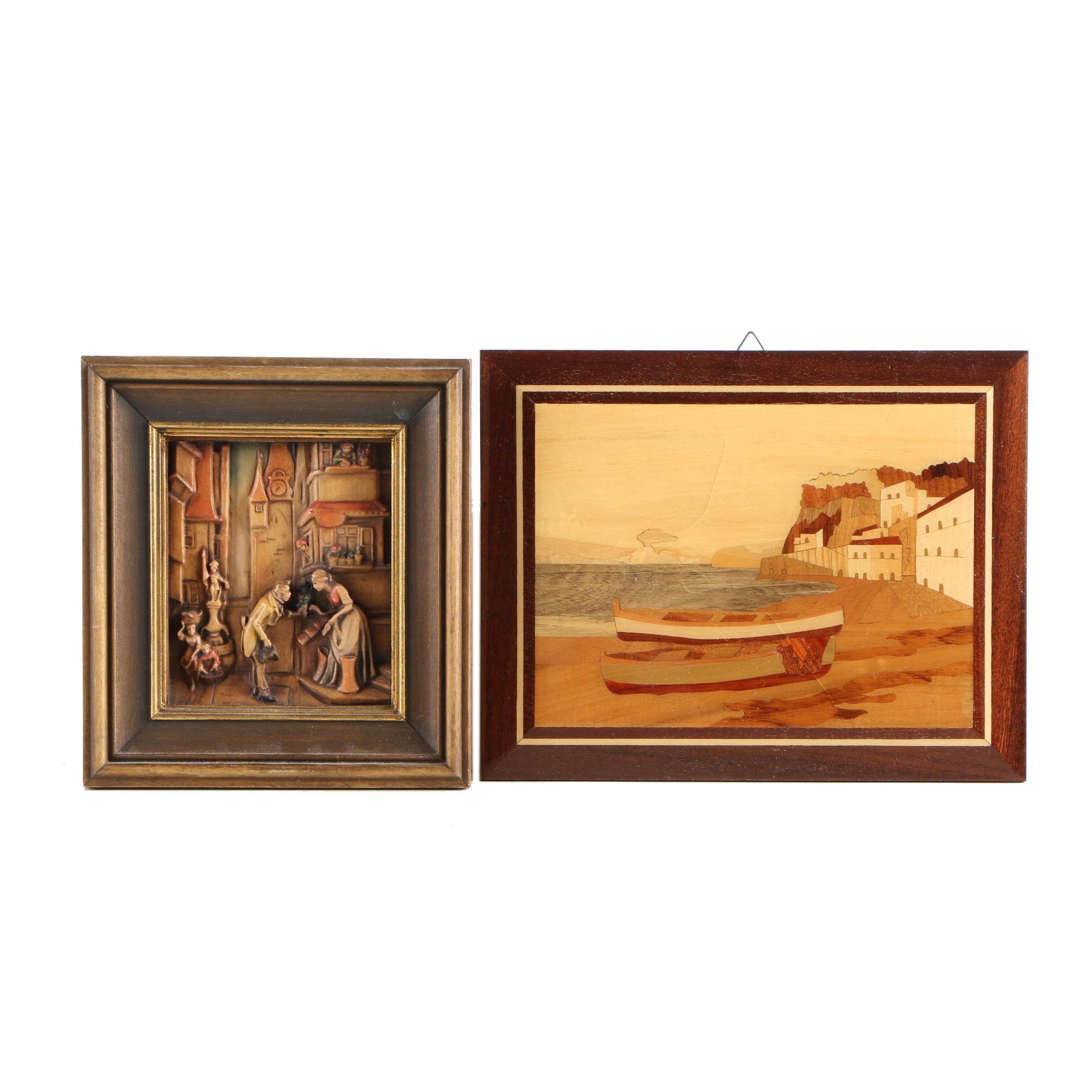 Marquetry Panel and Painted Carved Wood Relief After Carl Spitzweg