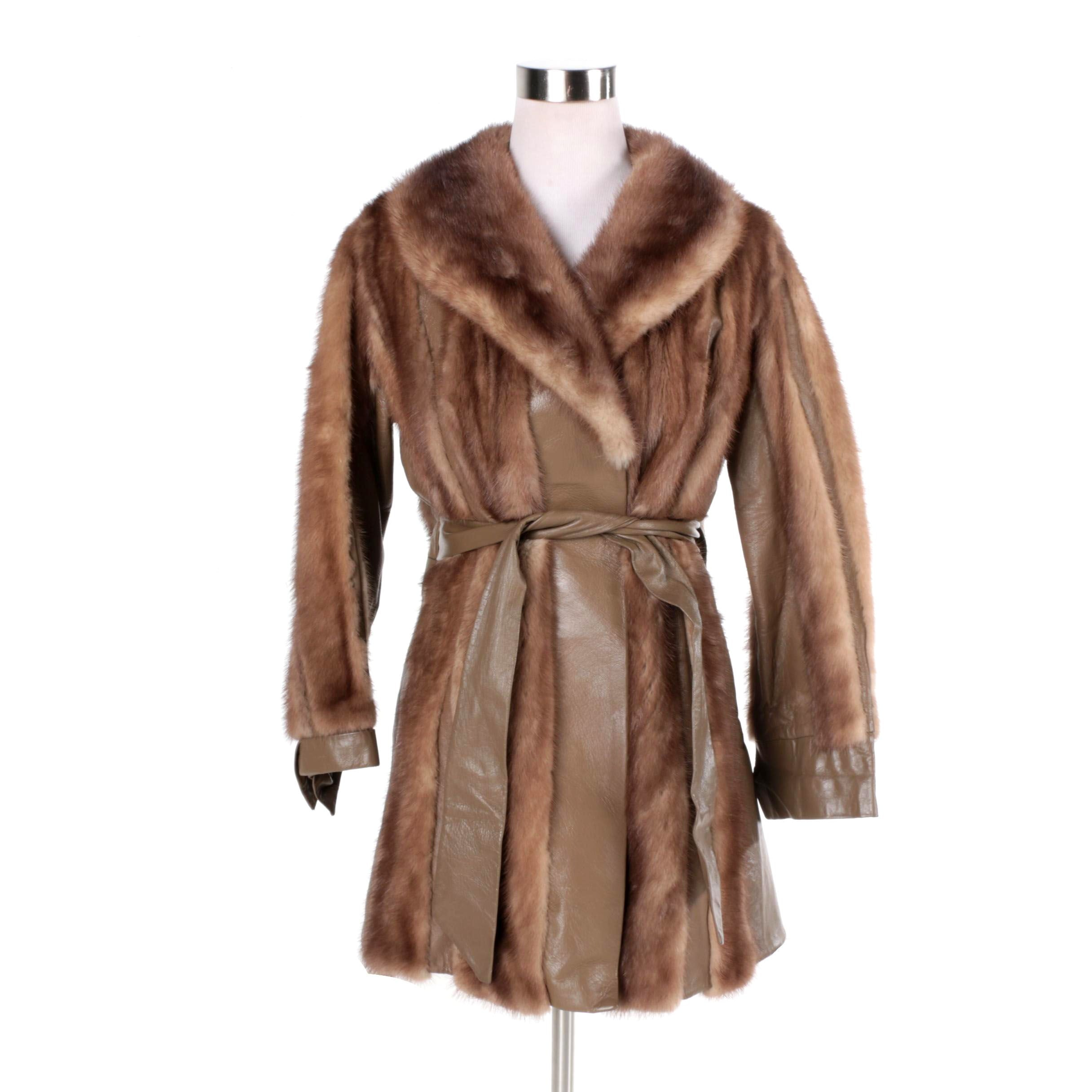 Women's Vintage Mink Fur and Leather Jacket