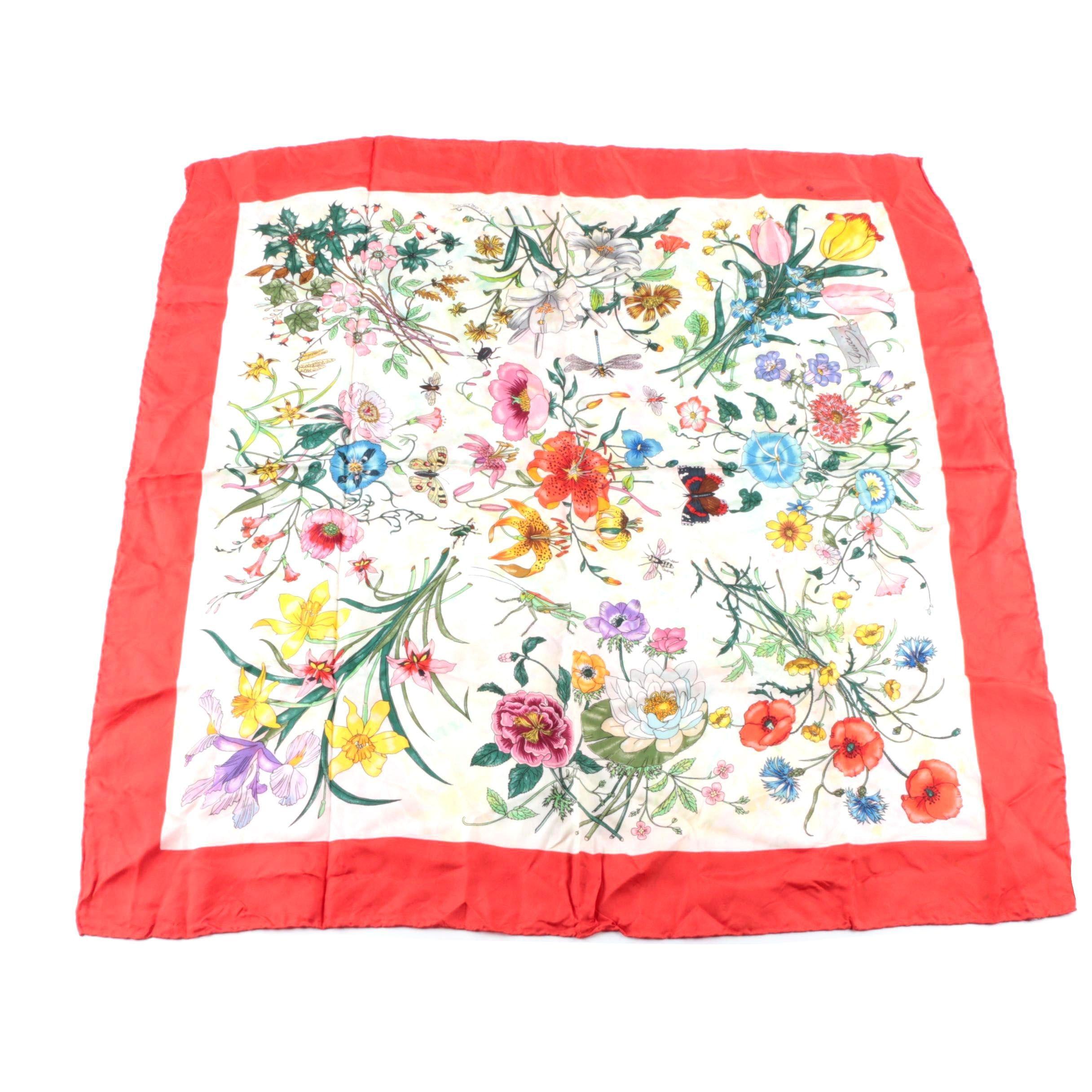 Vintage Gucci Floral Flora Silk Scarf