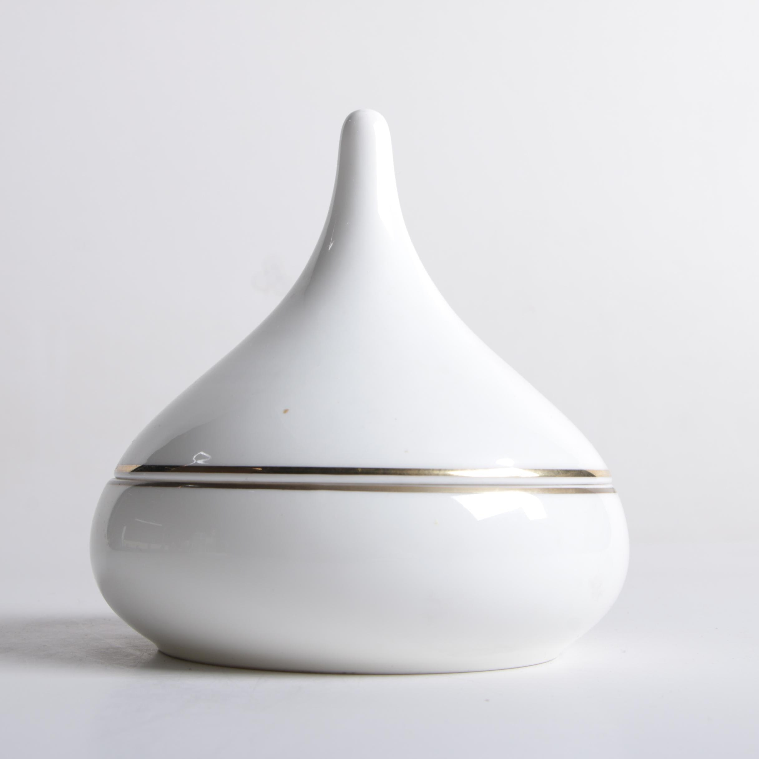 "Mid Century Modern ""Kiss"" Lidded Bone China Bowl by Jonal"
