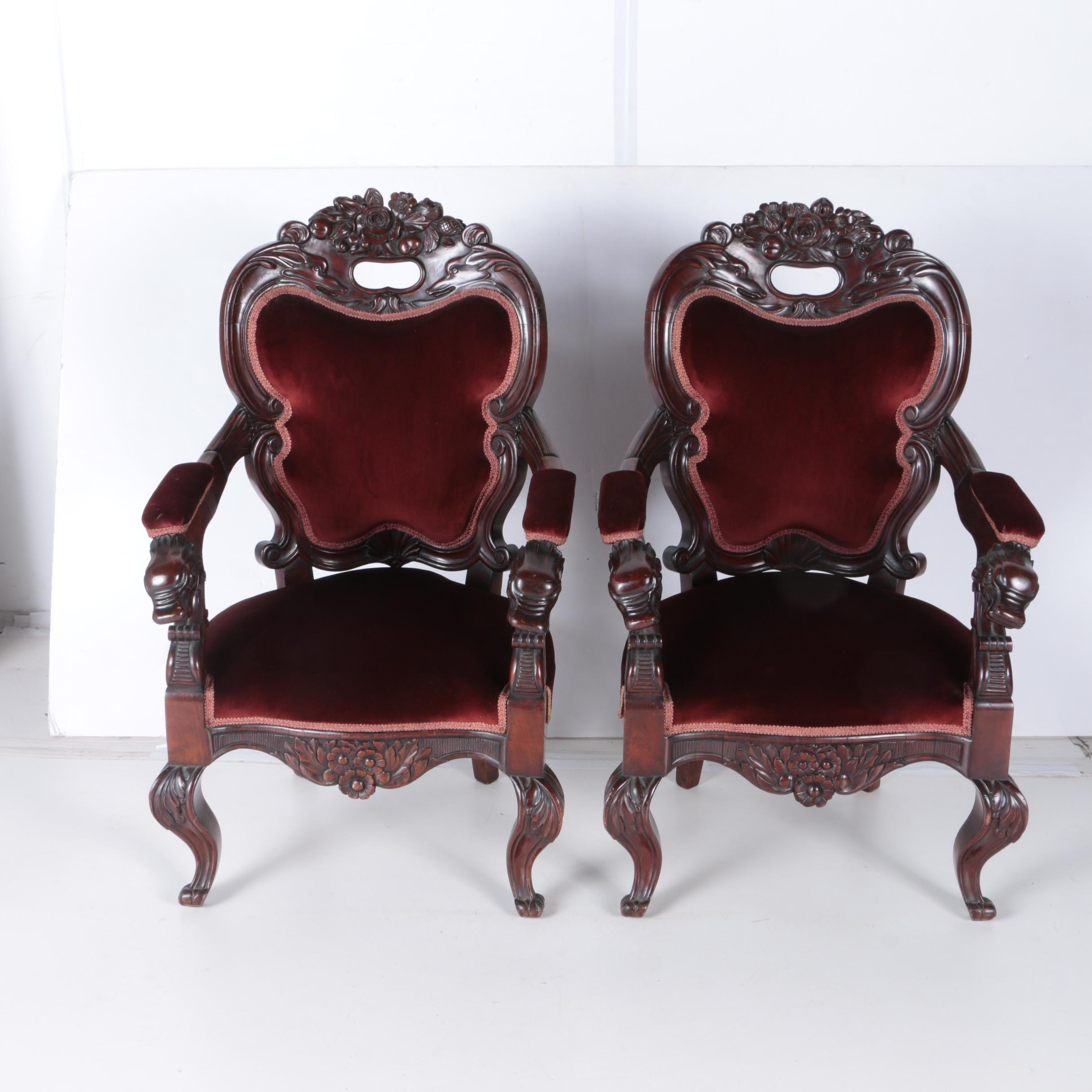 Pair of Rococo Style Asian Carved Arm Chairs