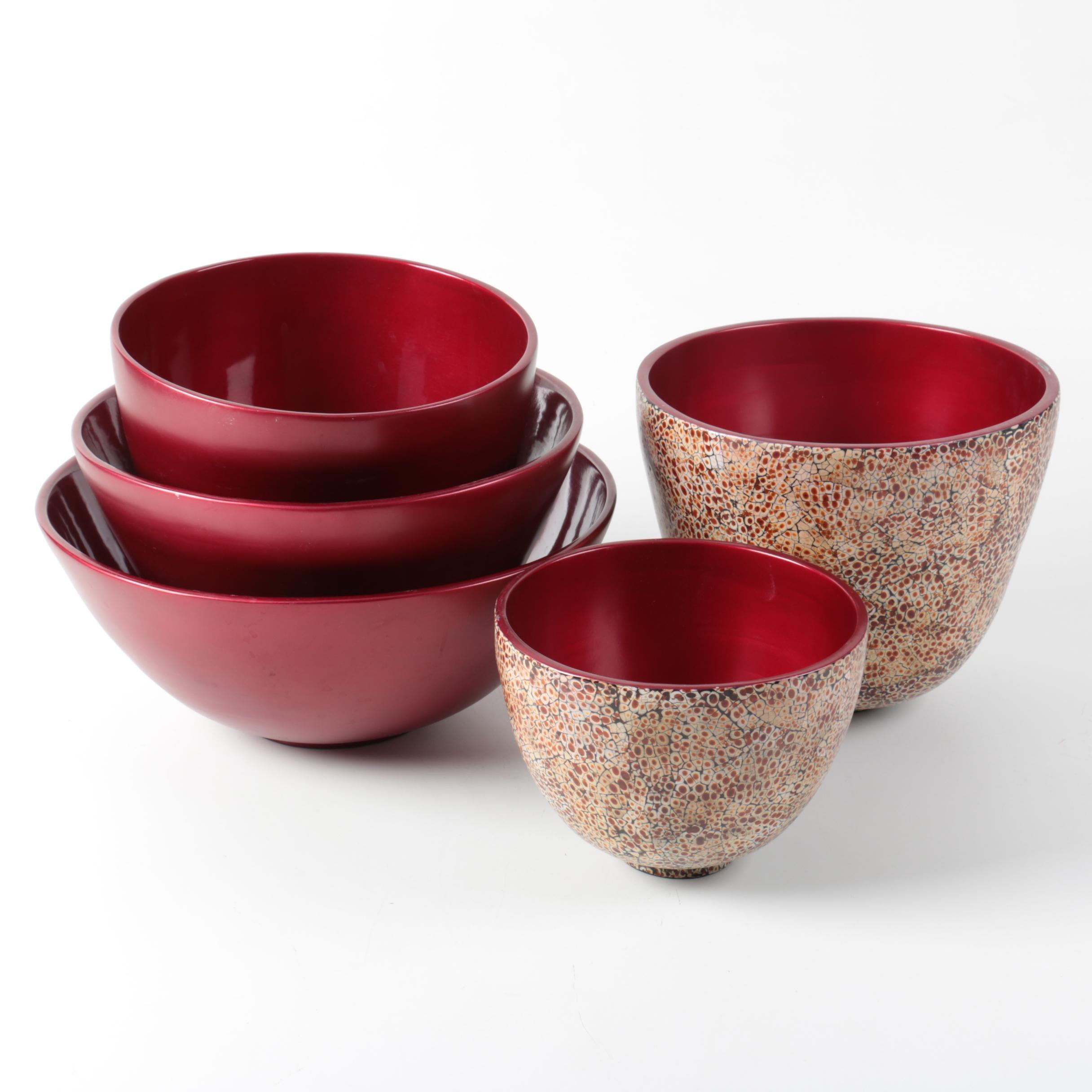 Vietnamese Lacquered Wood Decorative Bowls