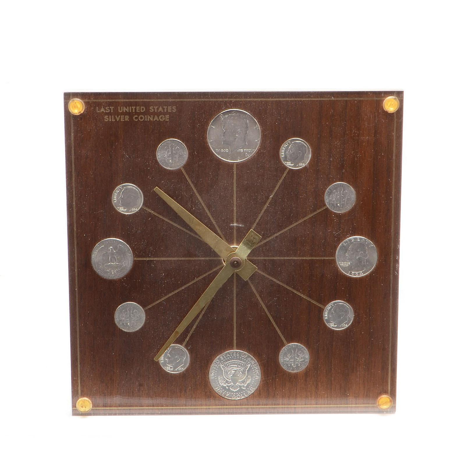 1964 Marion-Kay Last US Silver Coinage Numismatic Desk Clock