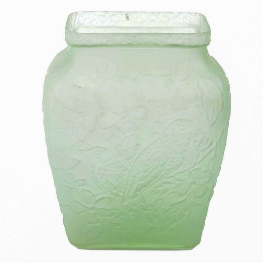 Phoenix And Consolidated Style Satin Glass Vase Ebth