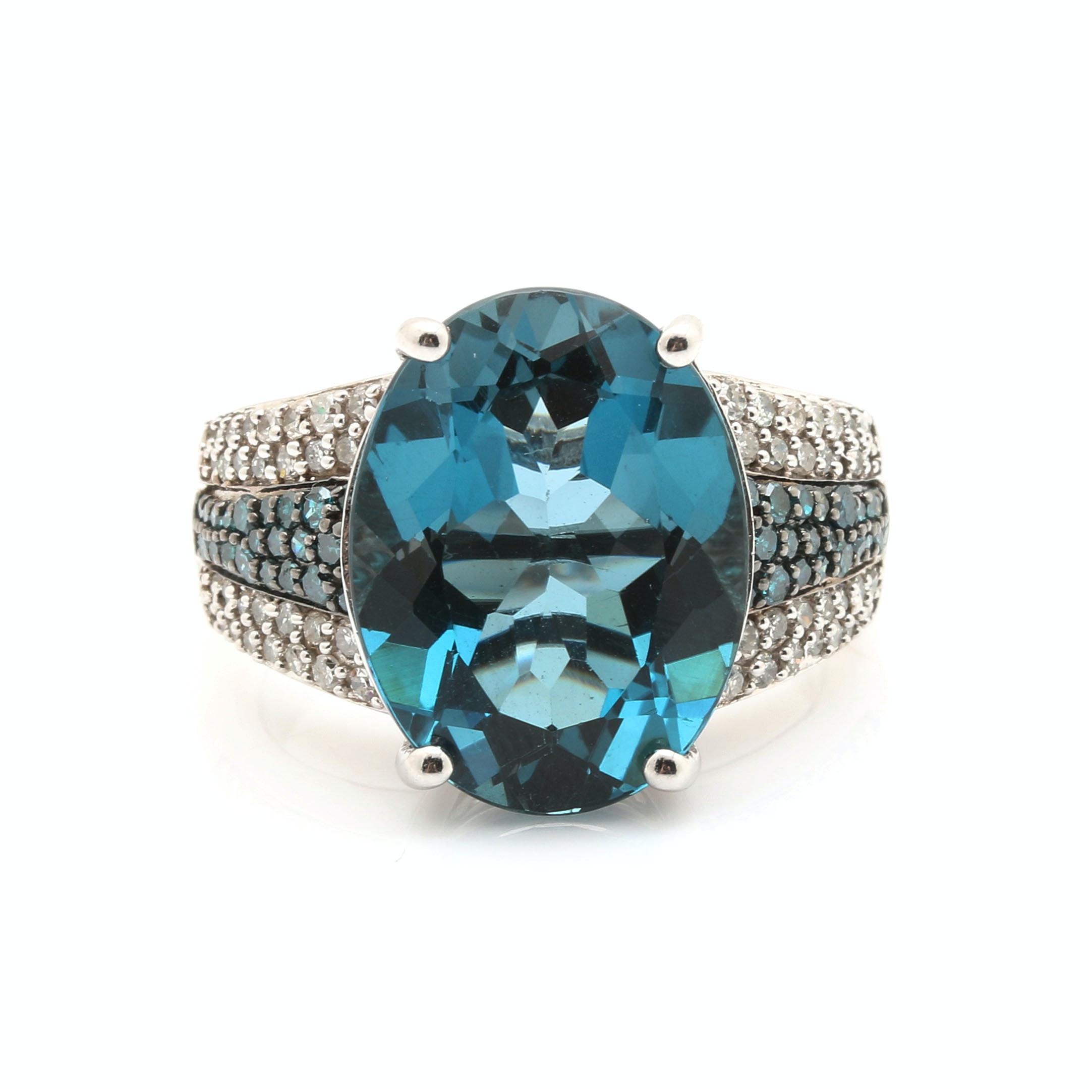 14K White Gold 10.12 CT Blue Topaz and Diamond Ring