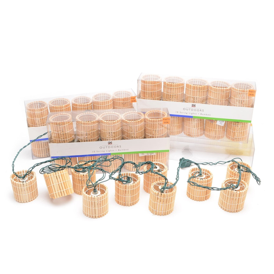 the best attitude 5c46b 99ad3 Set of Outdoor String Lights with Bamboo Shades