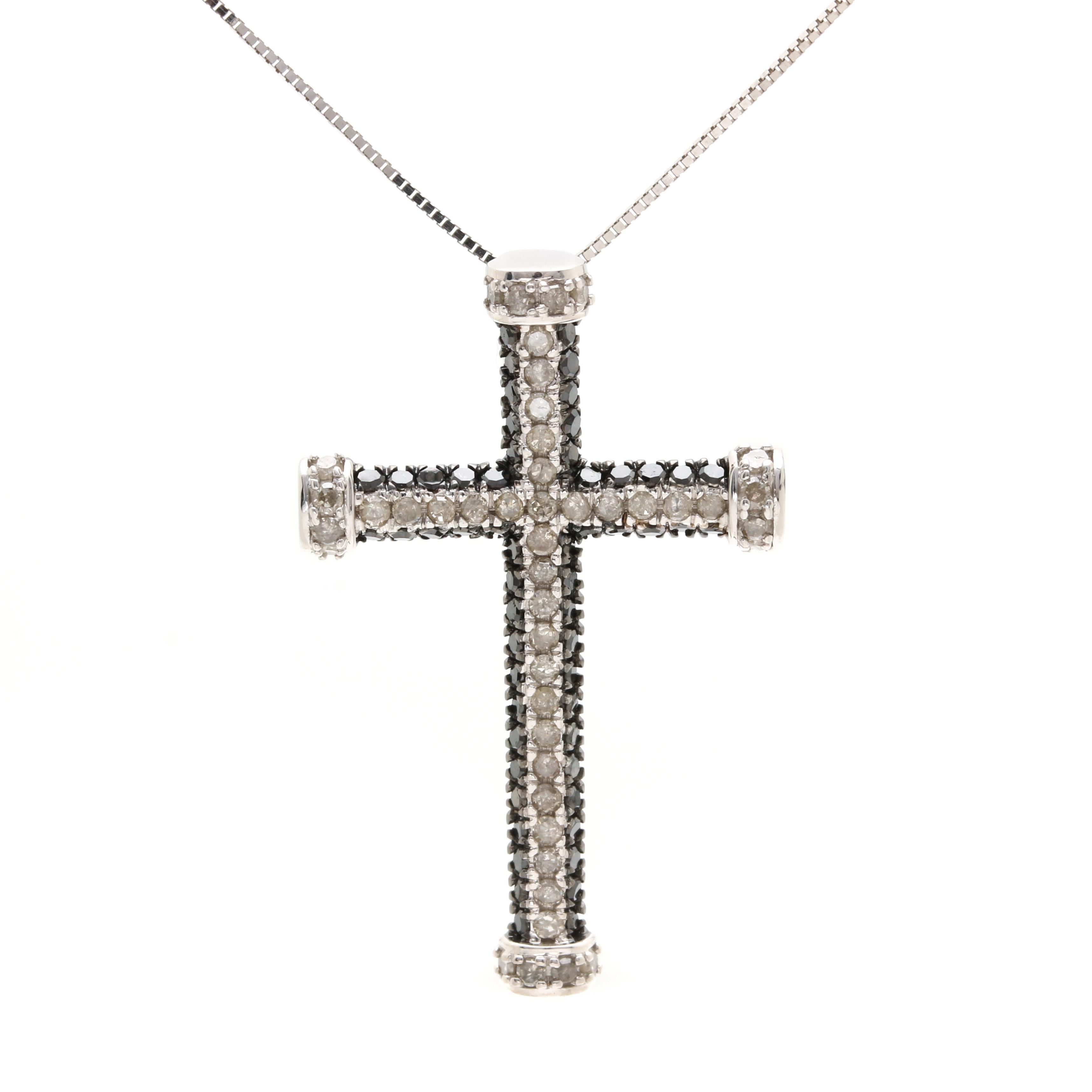 10K White Gold 1.01 CTW Diamond Cross Pendant Necklace