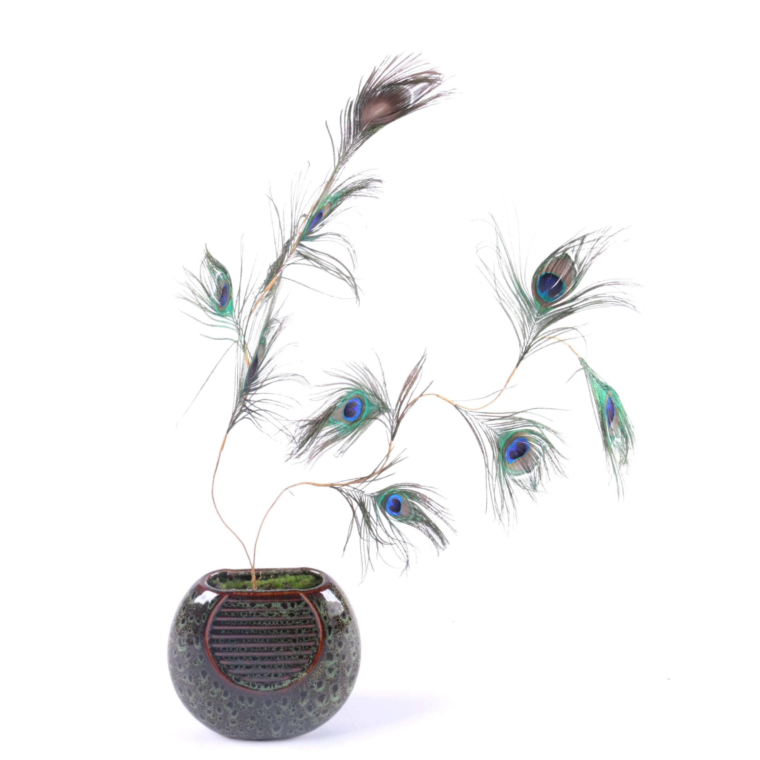 Peacock Feather Centerpiece In Ceramic Vase