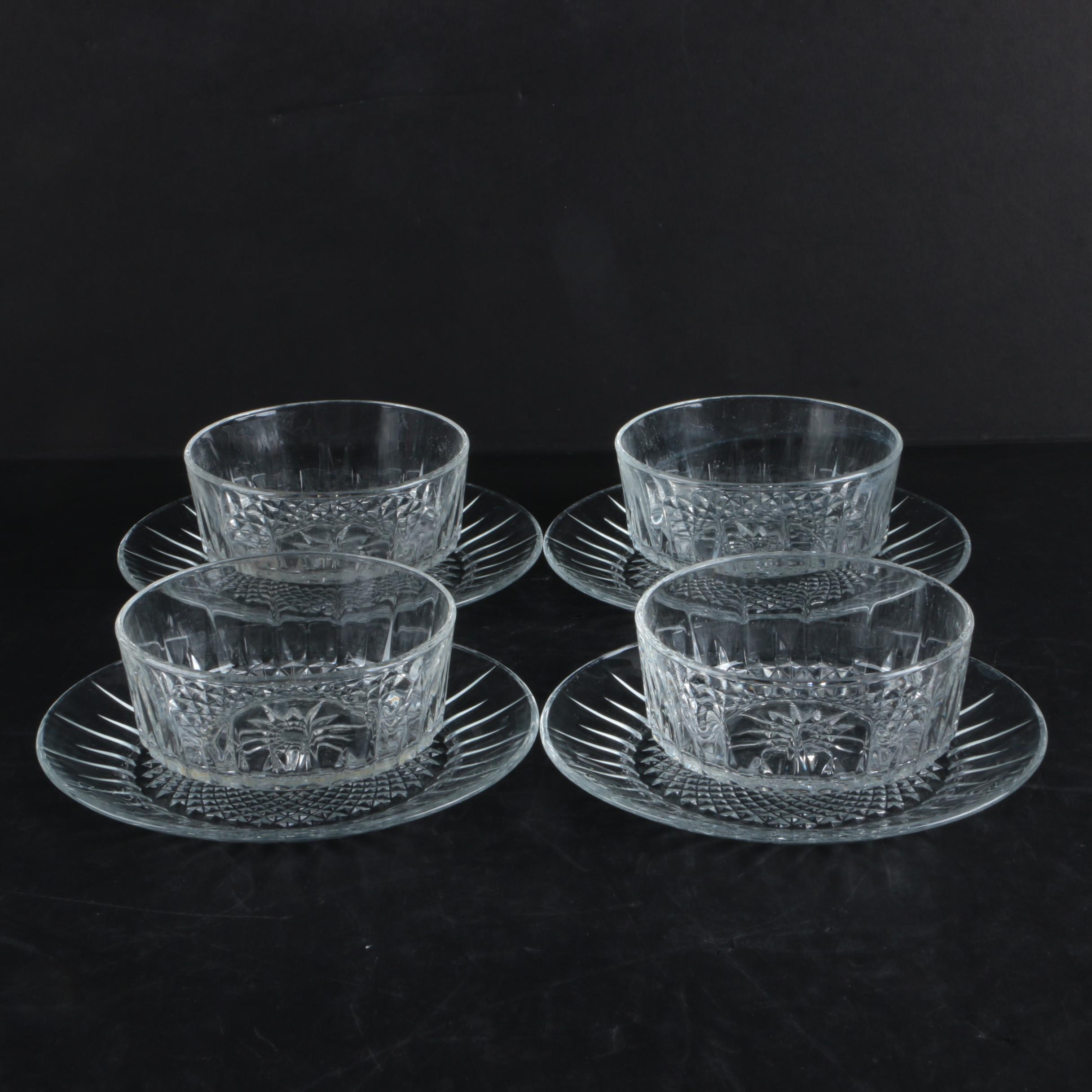 """Cristal D'Arques Durand """"Diamant"""" Crystal Bowls and Plates"""