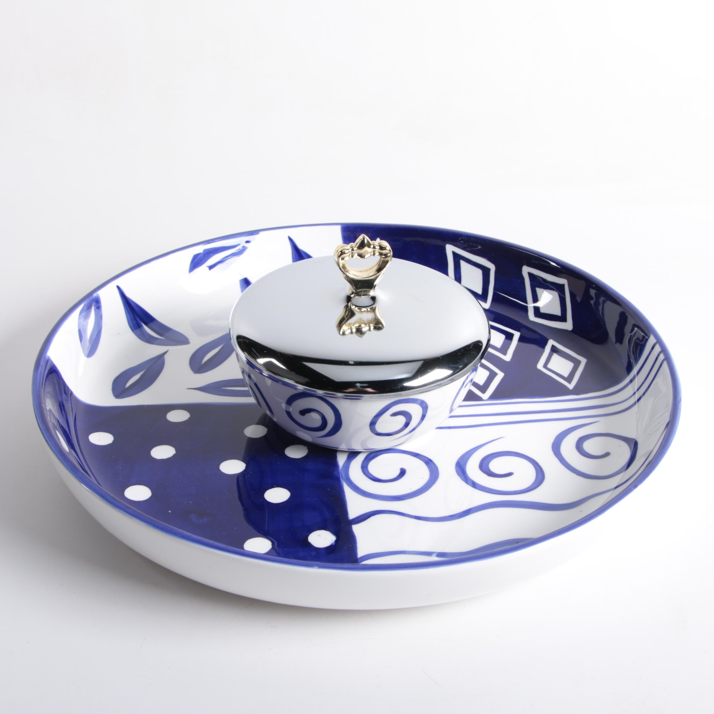 Cardinal Inc Quot Blue Bayou Quot Tray And Bowl Ebth