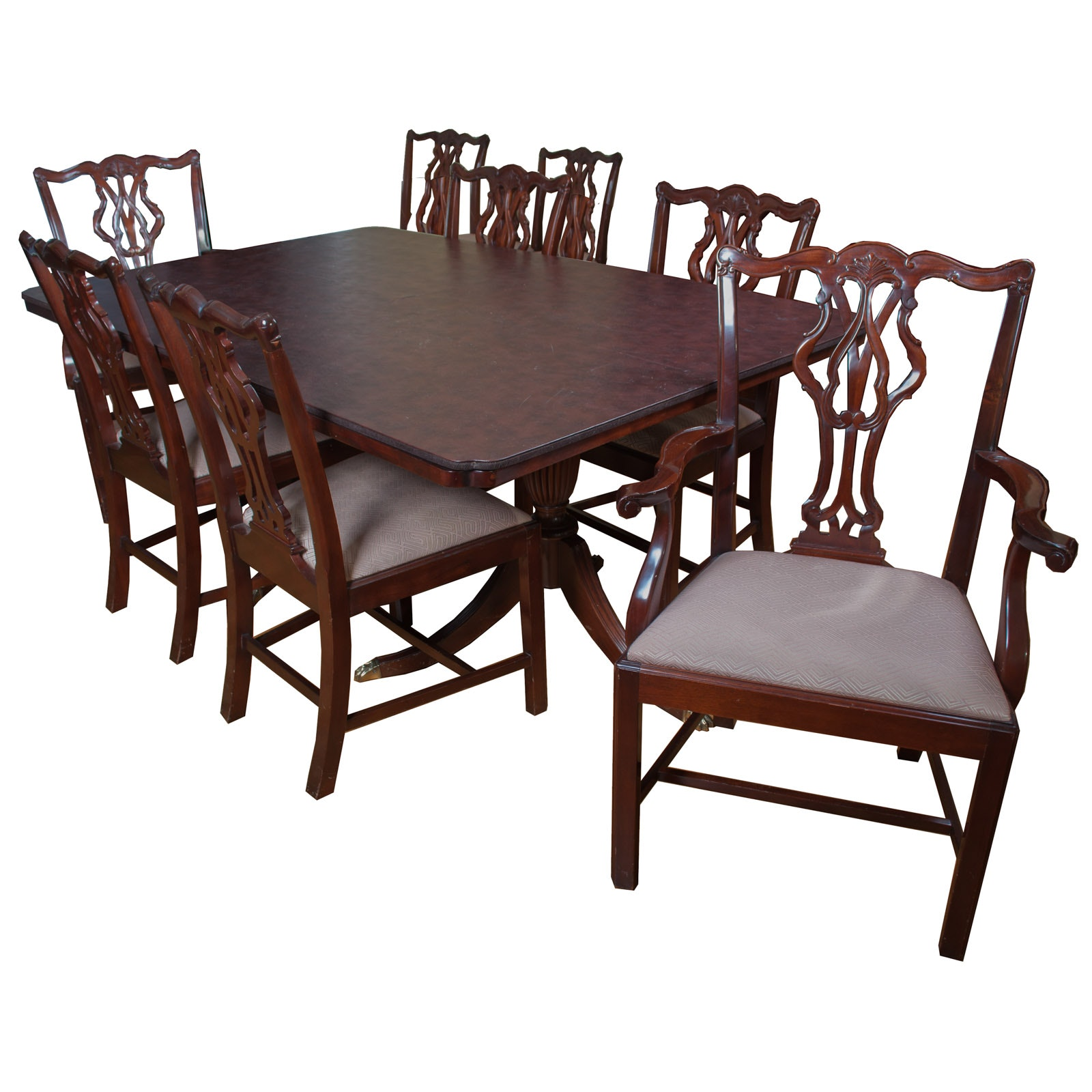 Chippendale Style Mahogany Dining Set by Wellington Hall