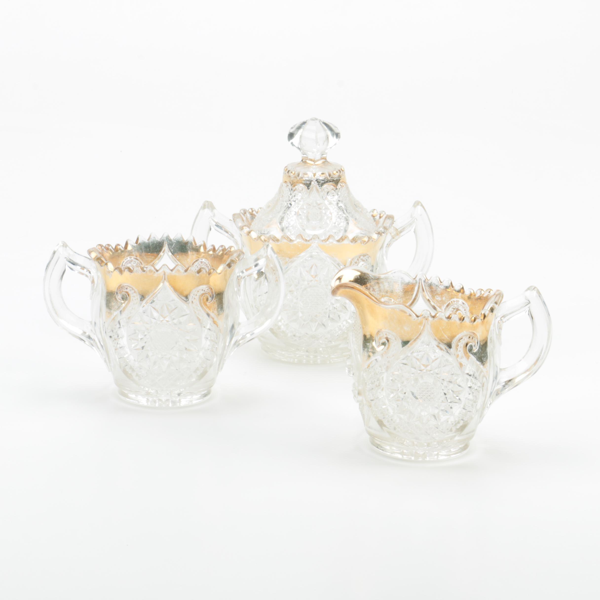 Vintage Pressed and Gilt Glass Serveware