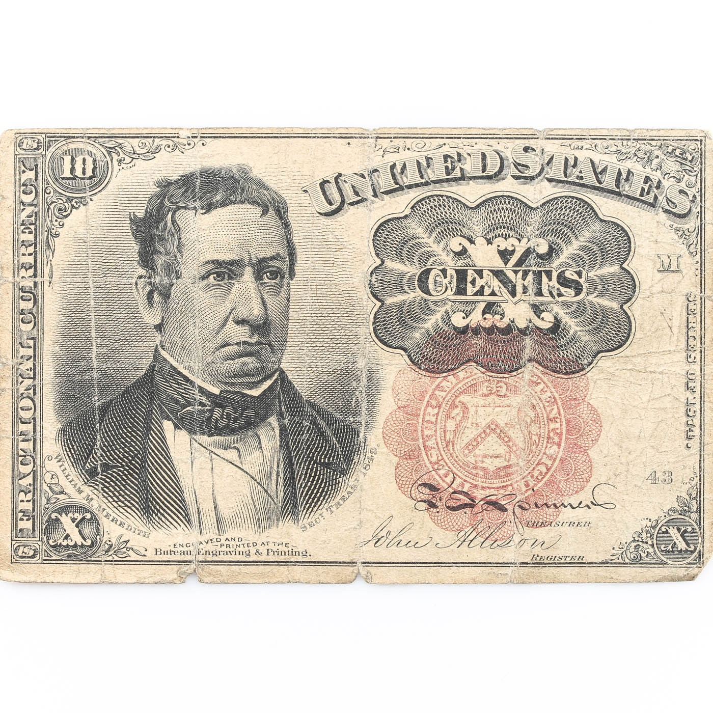 Ten Cent Fractional Currency Note