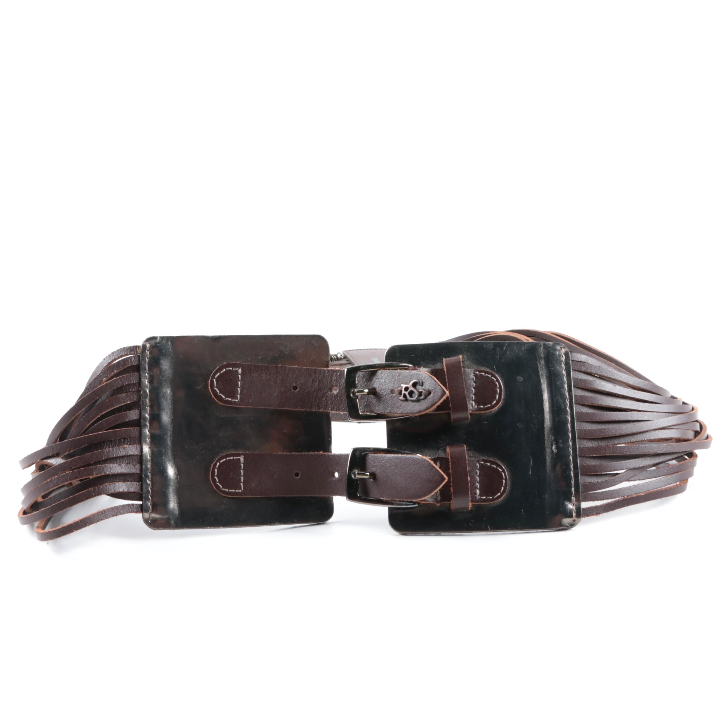 Women's Roberta Scarpa Leather and Metal Statement Belt