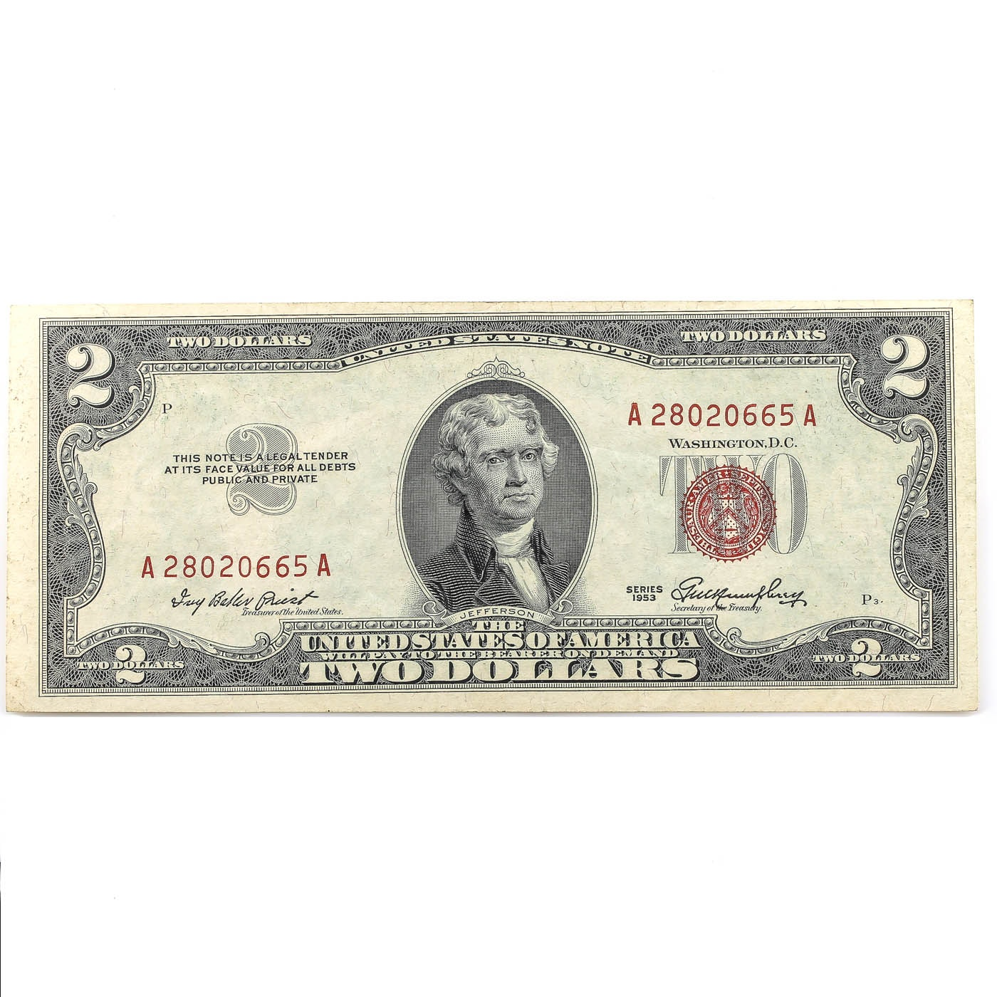 Series of 1953 Red Seal Two Dollar United States Note