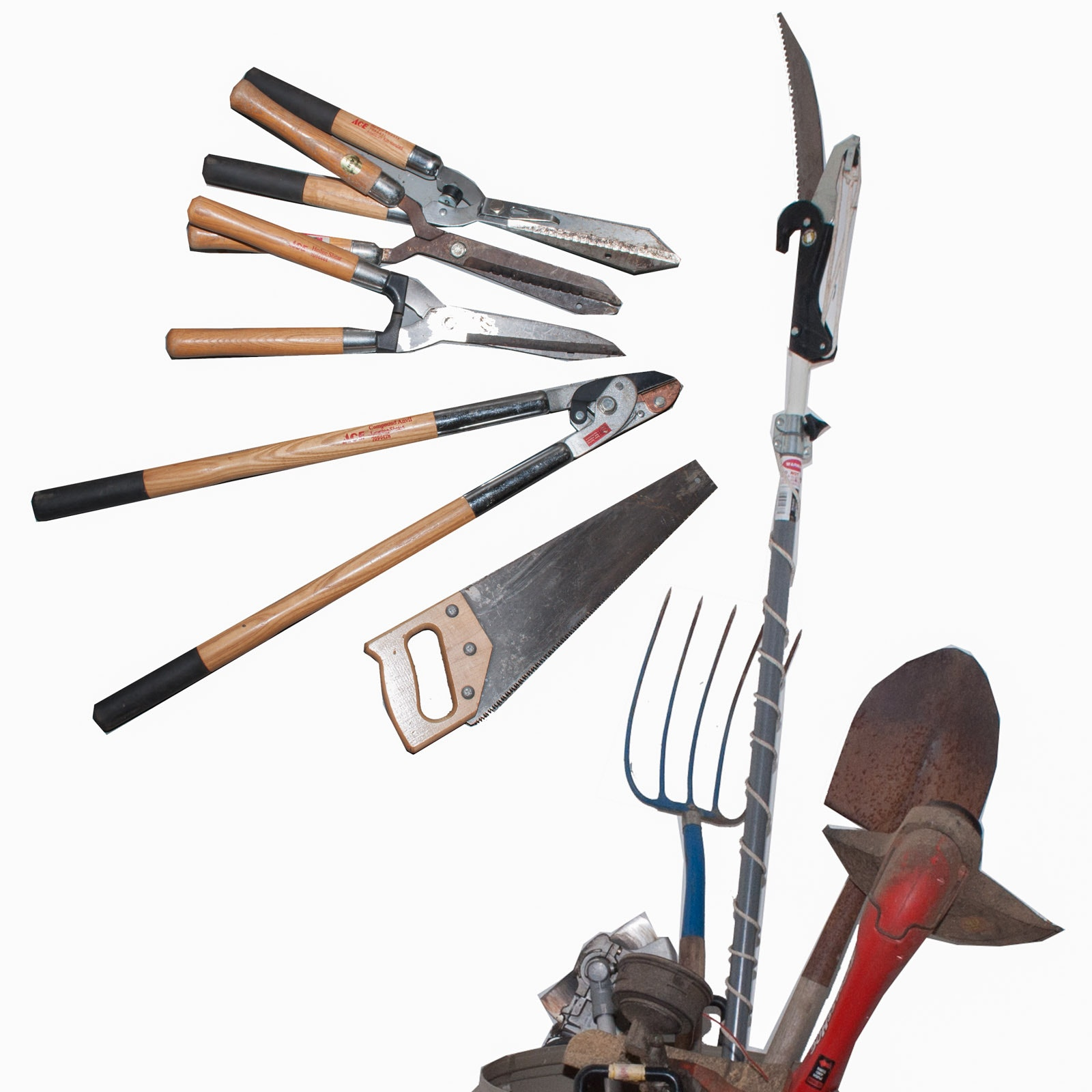 Assortment of Yard Tools and Shears