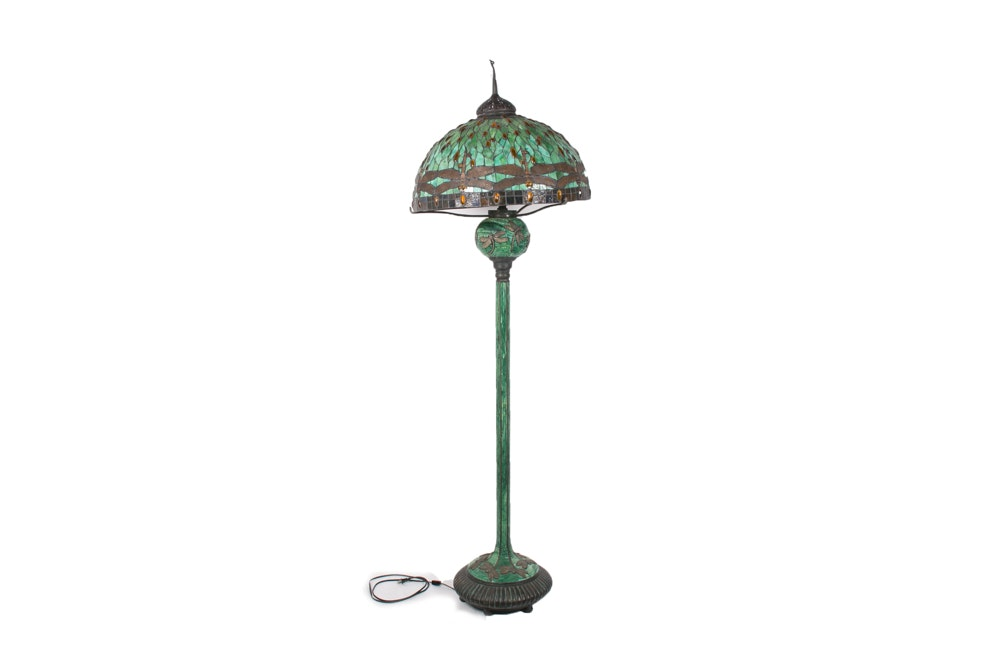 Tiffany Style Dragonfly Floor Lamp by JSW Studios