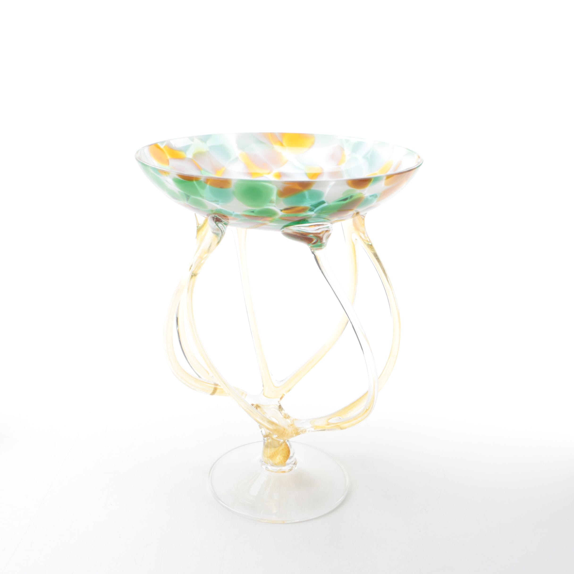Jozefina Glassworks Style Hand Blown Jellyfish Compote