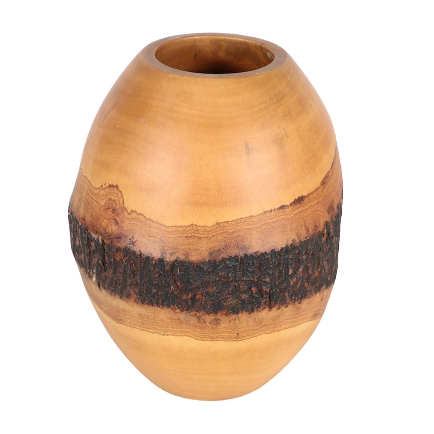 Artisan Turned Wood Vase Ebth