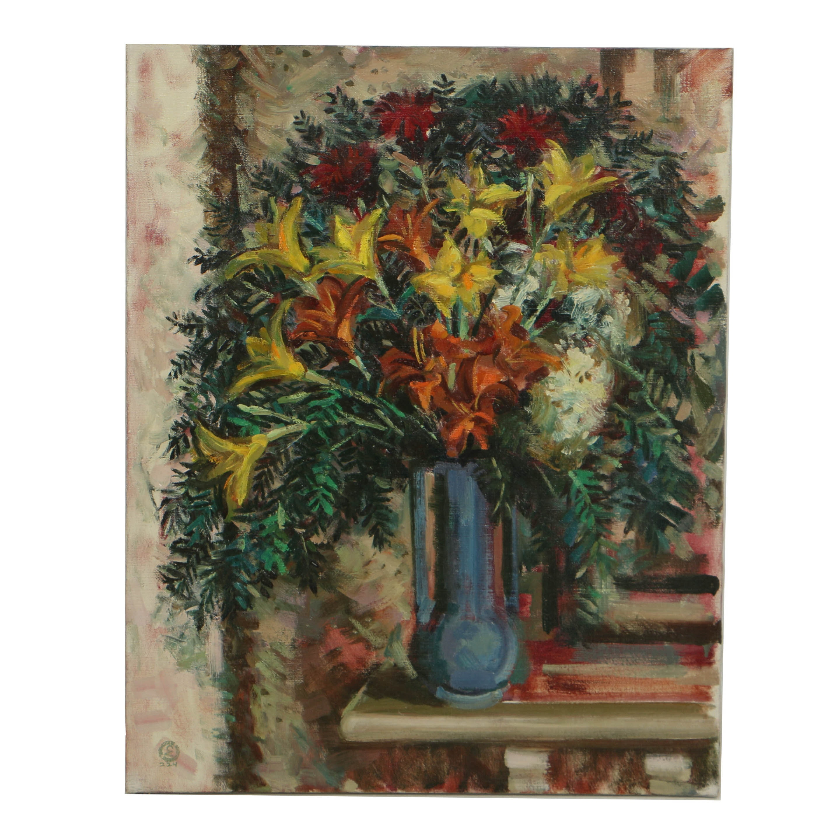 Carl Zimmerman Oil Painting on Canvas of Floral Still Life