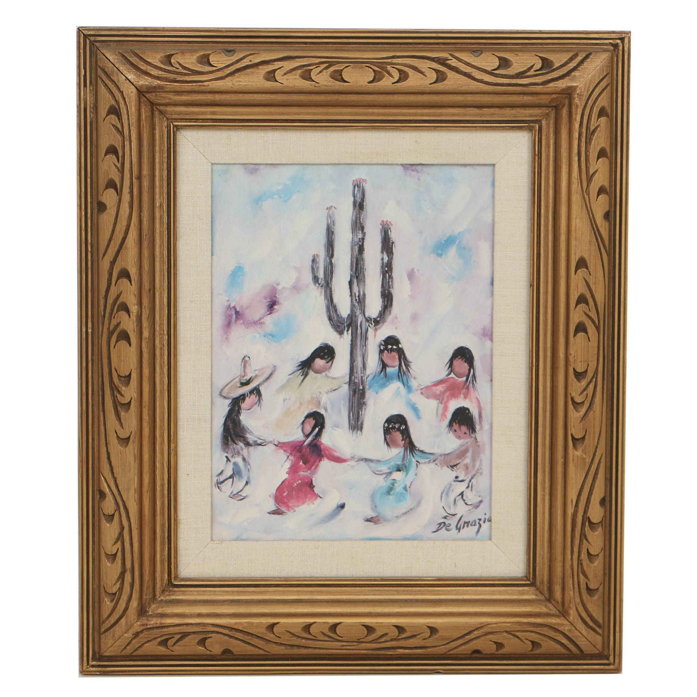 "Ettore ""Ted"" DeGrazia Oil Painting on Canvas ""Seri Children"""