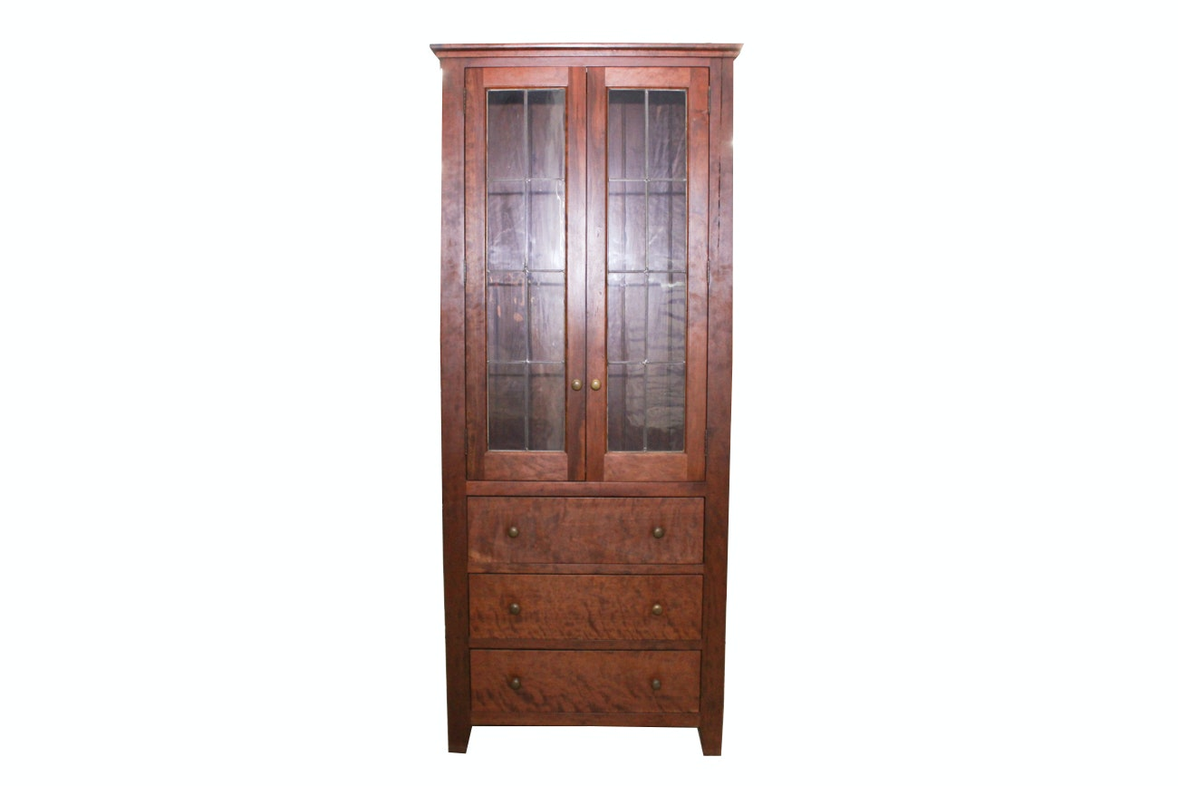 Arts and Crafts Style Cherry China Cabinet