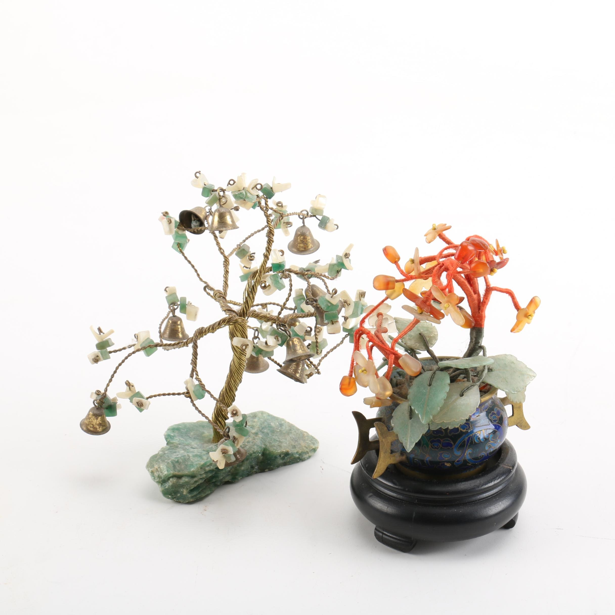Asian Style Floral Quartz, Shell and Calcite Bonsai Trees