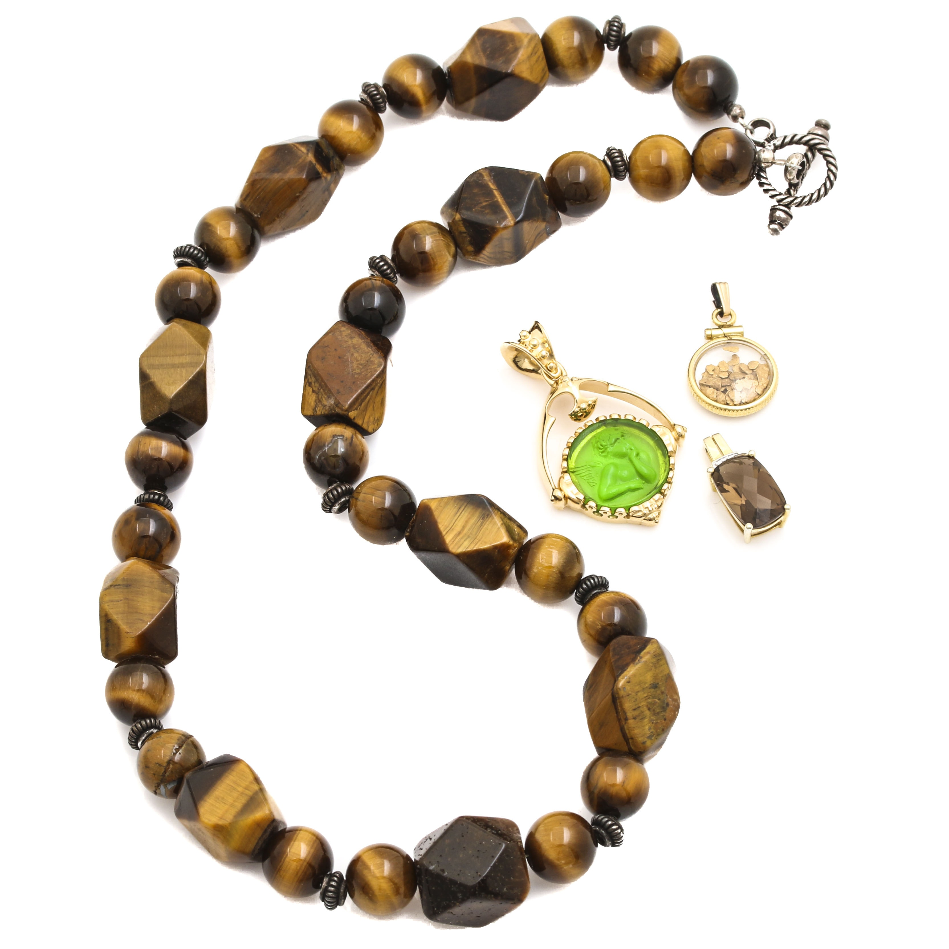 Sterling Silver and Gold Filled Jewelry Including Tiger's Eye Necklace