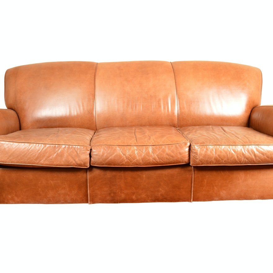 Pottery Barn Leather Sofa By Mitchell Gold
