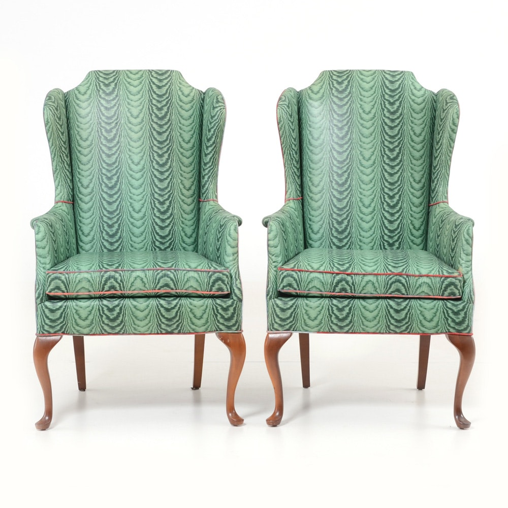 Pair of Vintage Green Wing-Back Chairs