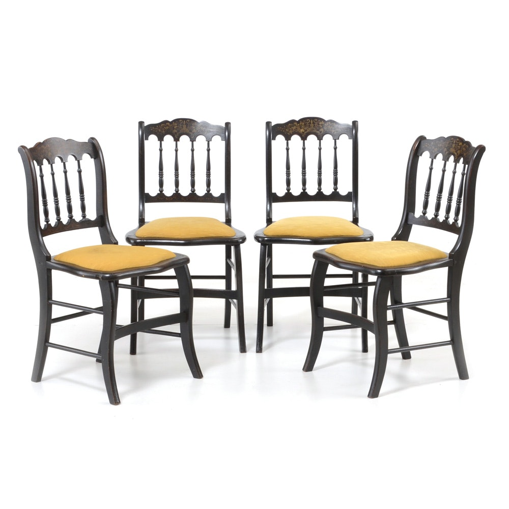 Group of Vintage Black Side Chairs